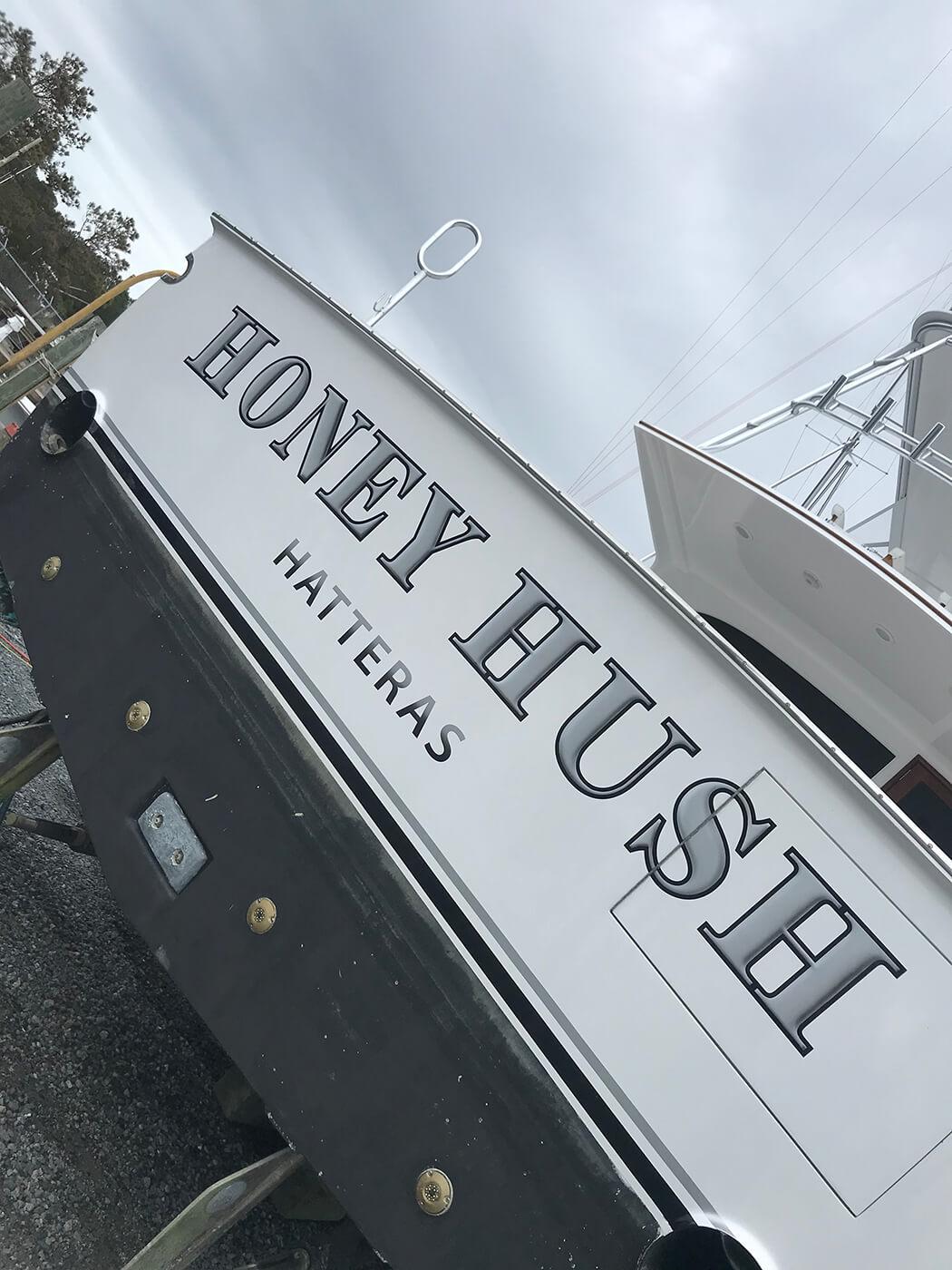 Honey Hush Hatteras Boat Transom