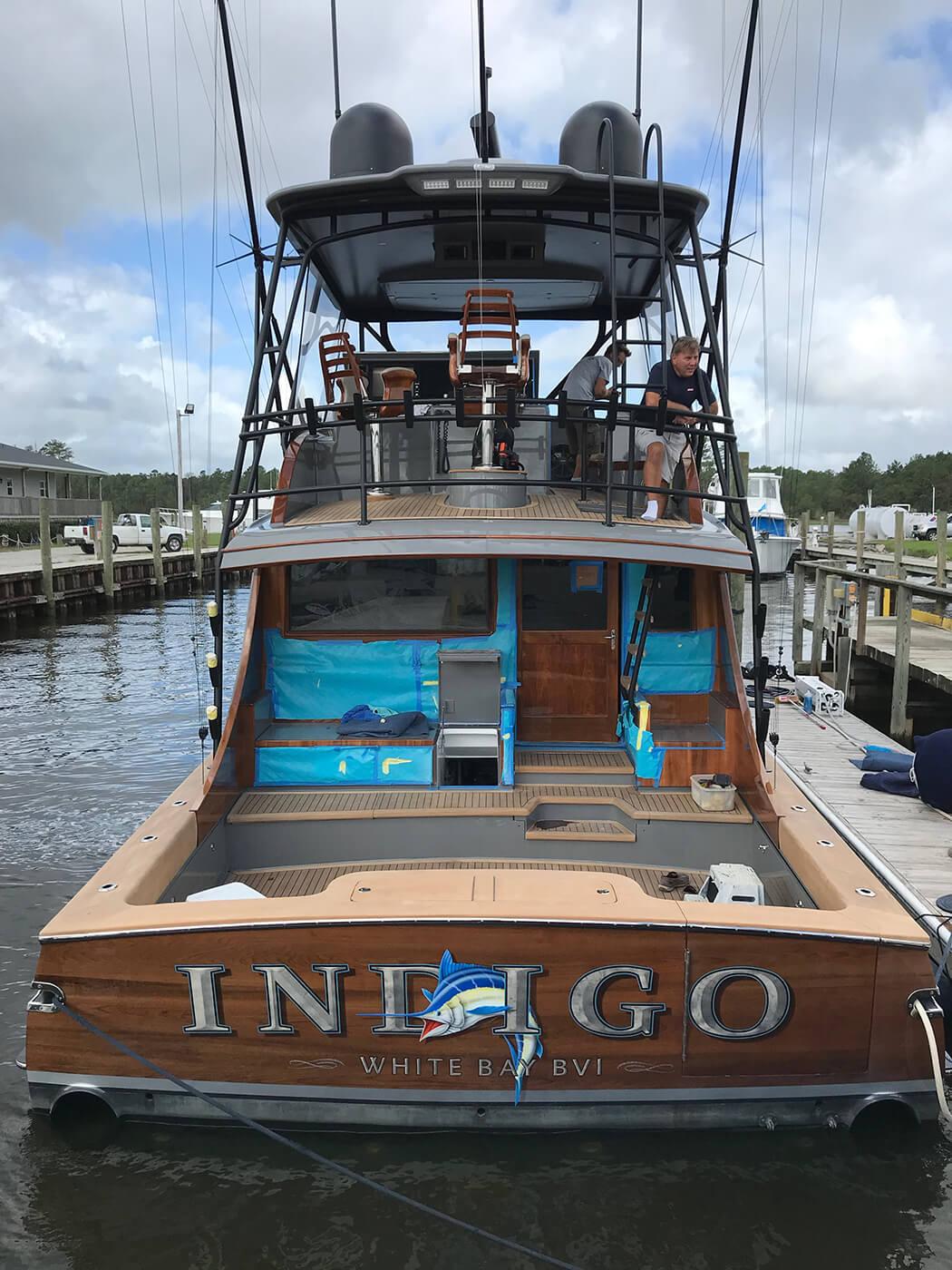 Indigo White Bay BV Boat Transom