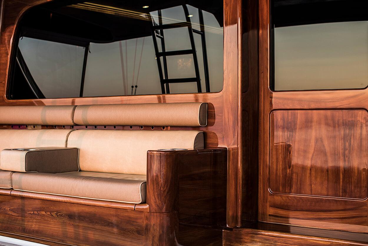 Blue Eagle Houston Texas Faux Teak bulkhead aft view wooden grain