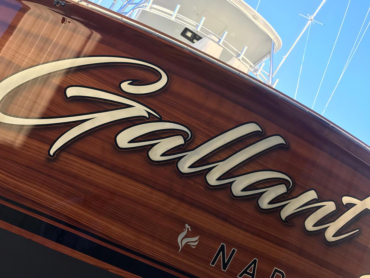 Gallant Lady Naples Florida Faux Teak wooden stern handpainted grain wood