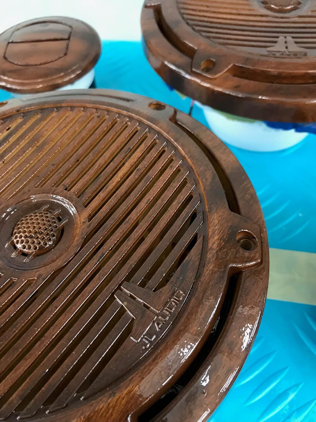 Hatteras Yachts GT70 Faux Teak speaker faces accessories wooden details