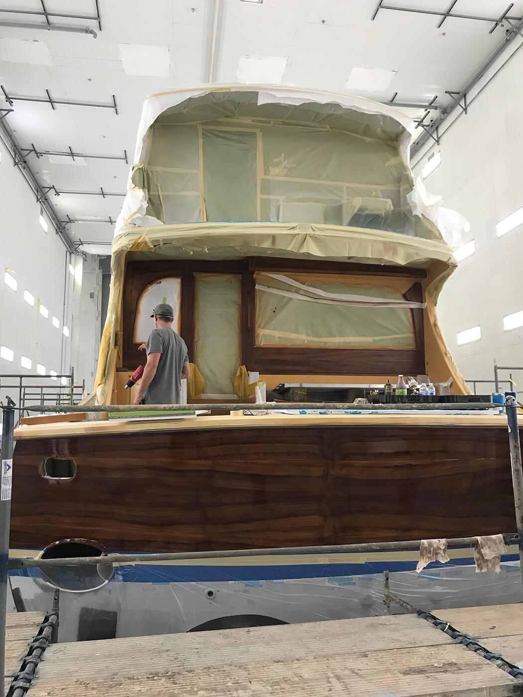 Hatteras Yachts GT70 Faux Teak transom bulkhead wood