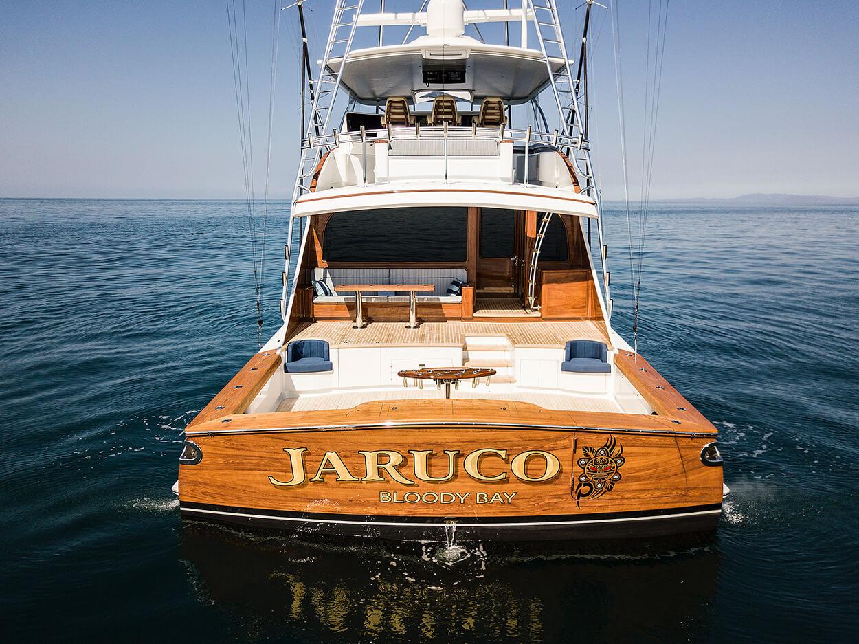 Jaruco Bloody Bay Faux Teak aft view transom awlgrip