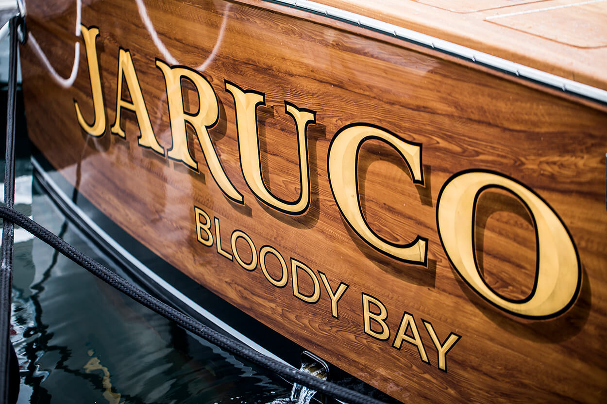 Jaruco Bloody Bay Faux Teak transom wood name