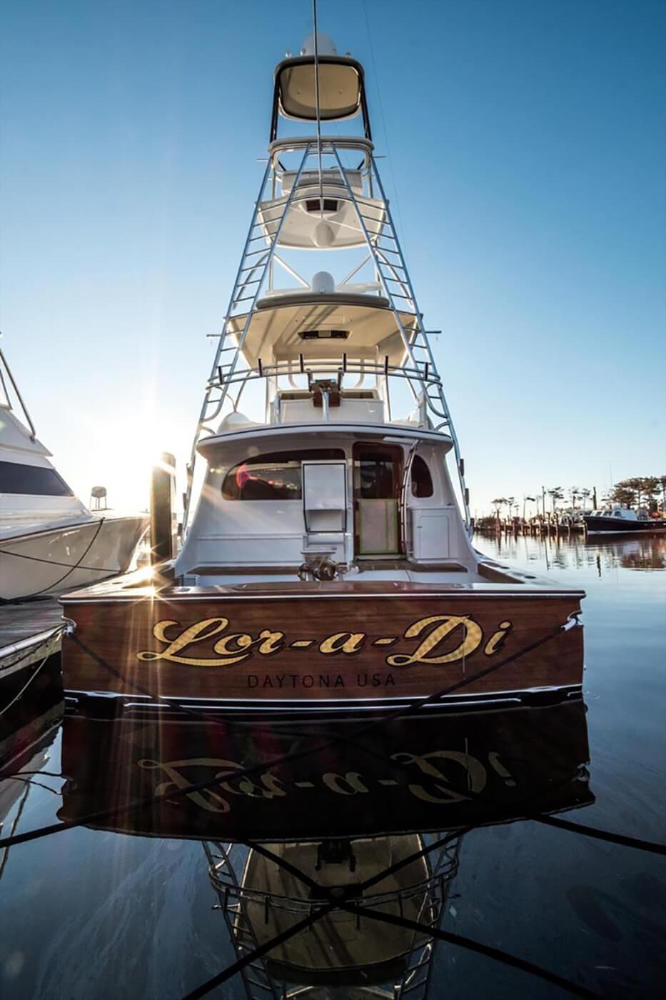 Lor A Di Daytona USA Faux Teak yachts transom bayliss docked