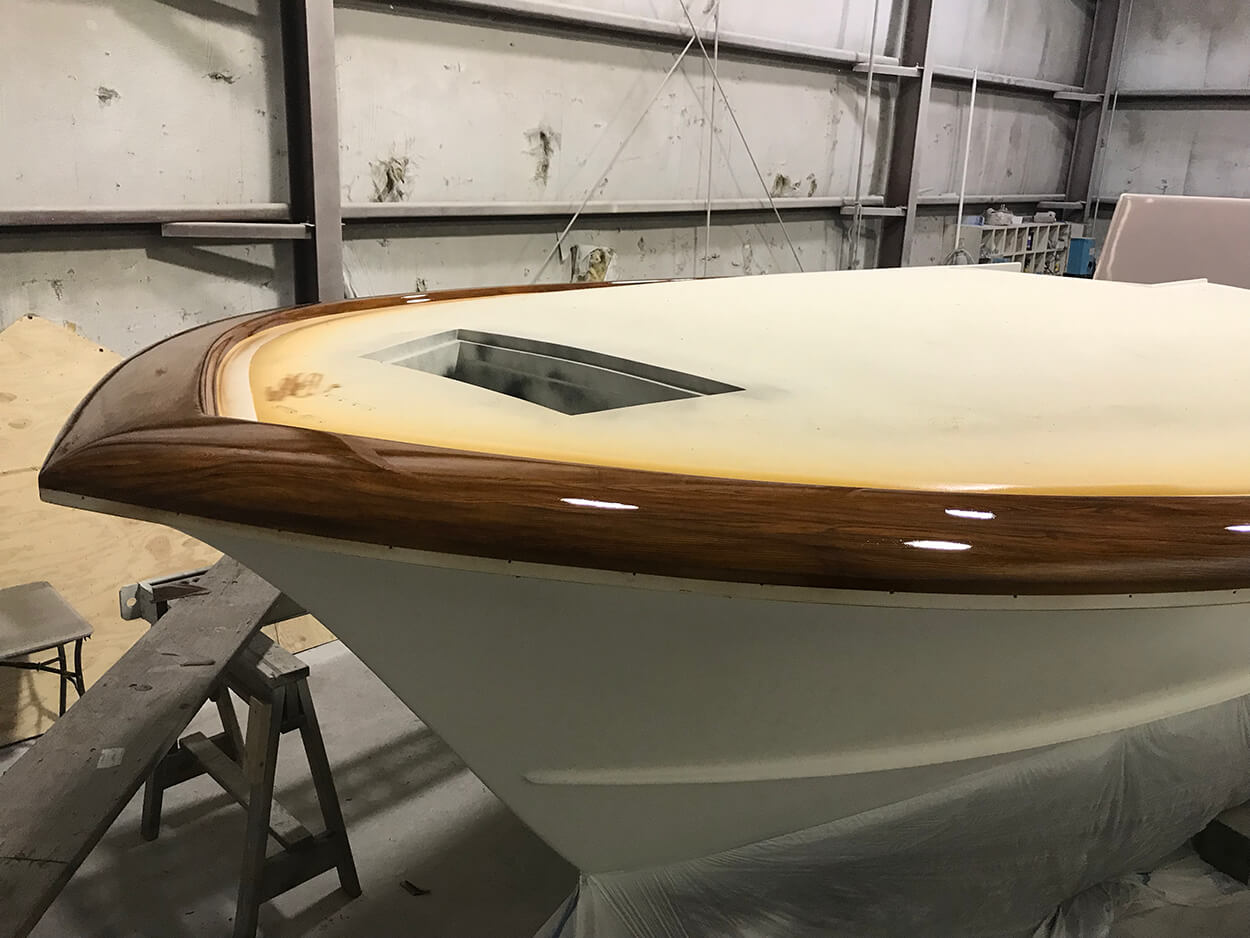 Shearline Boatworks Morehead City North Carolina Faux Teak side view yacht