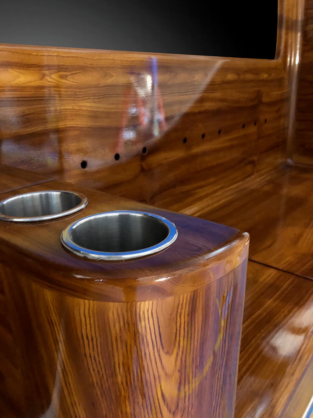 Smooth Move New Orleans Faux Teak cupholders wooden bulkhead boat