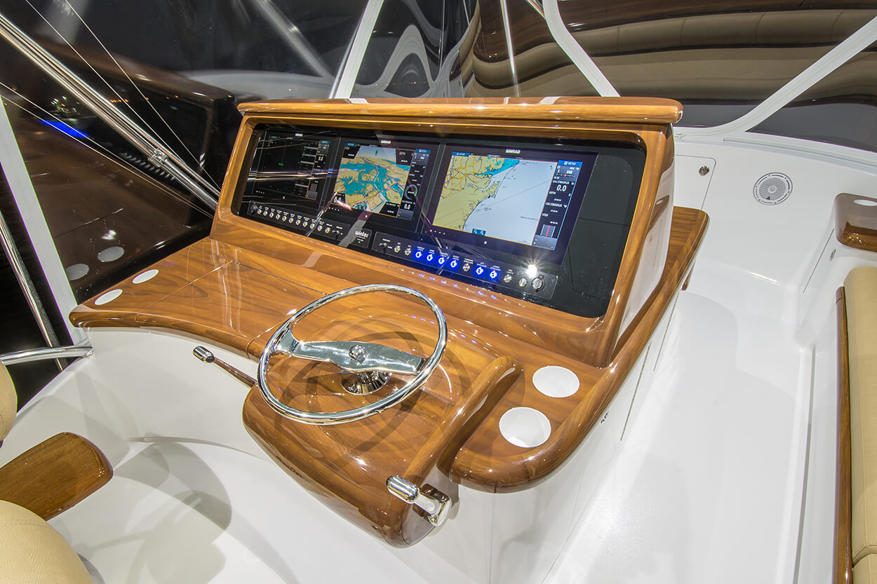 Wolverine Atlantic Beach North Carolina Faux Teak helm pod console wood planking layout steering wheel