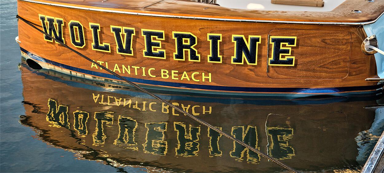 Wolverine Atlantic Beach North Carolina Faux Teak name transom detail