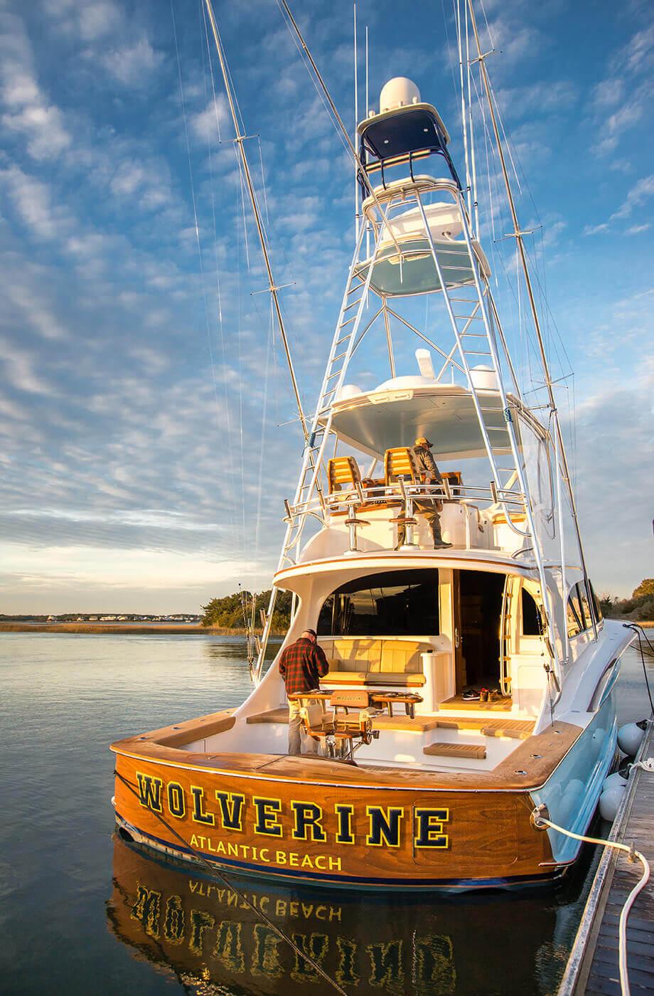 Wolverine Atlantic Beach North Carolina Faux Teak transom detail docked sportfishing boat