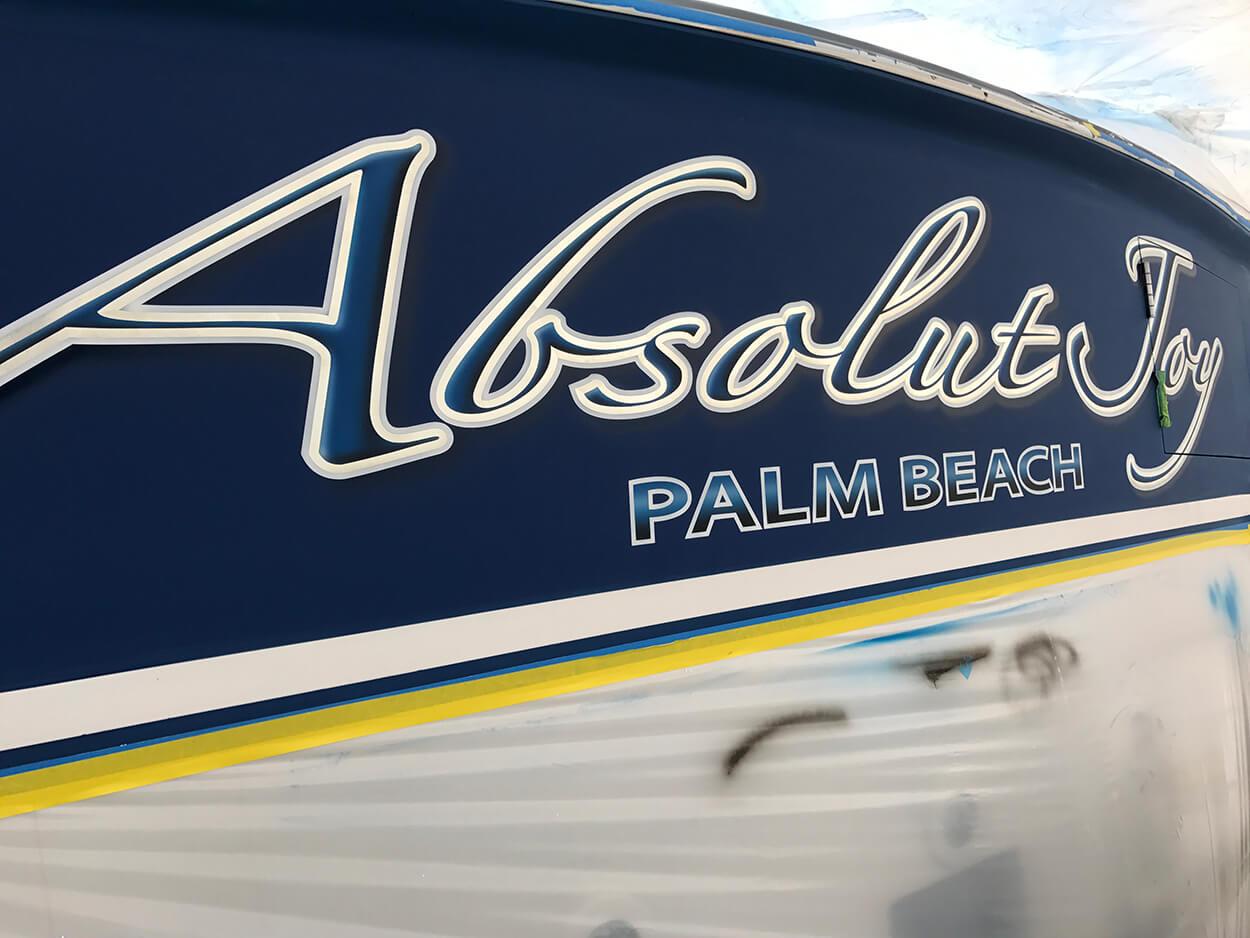 Absolut Joy Palm Beach Florida Boat Transom