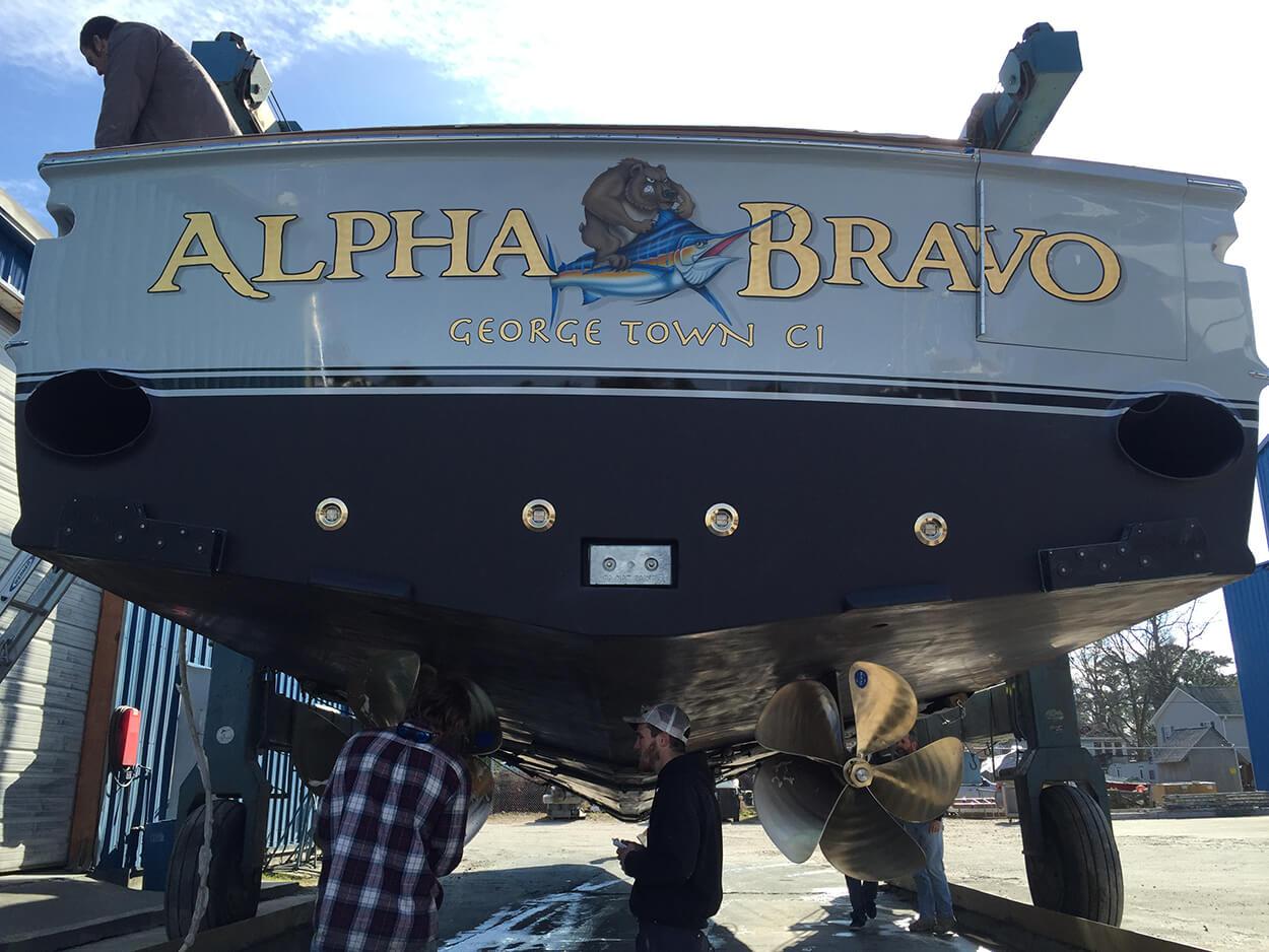 Alpha Bravo George Town CI Boat Transom