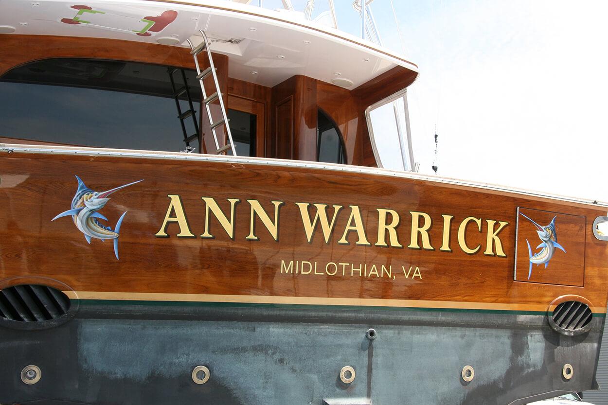 Ann Warrick Midlothian Virginia Boat Transom