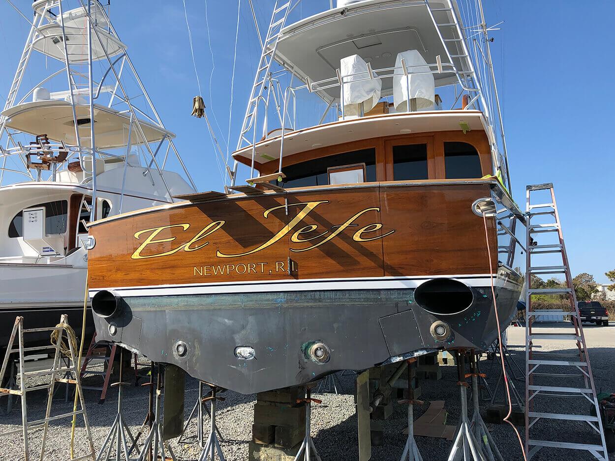 El Jefe Newport Rhode Island Boat Transom