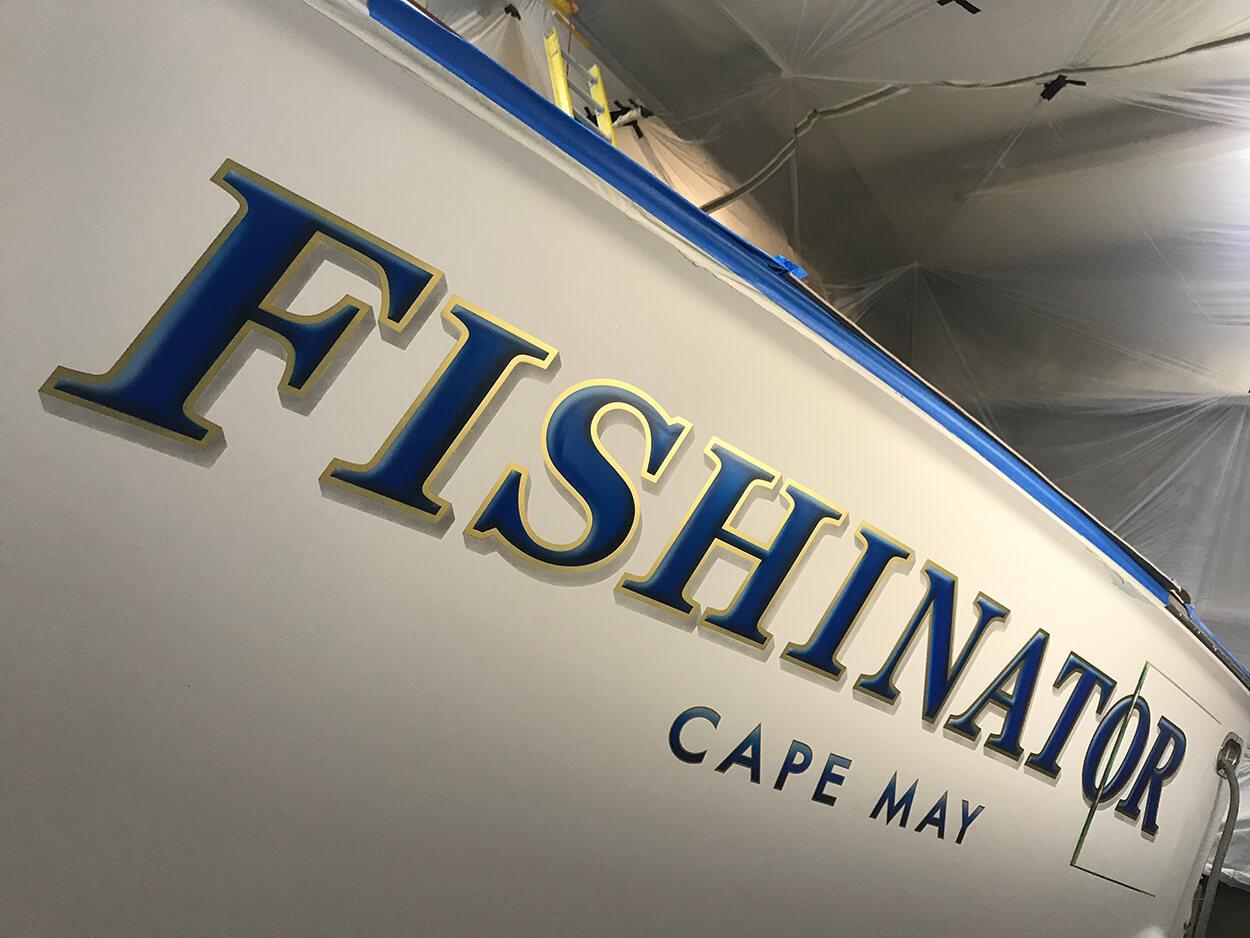 Fishinator Cape May New Jersey Boat Transom