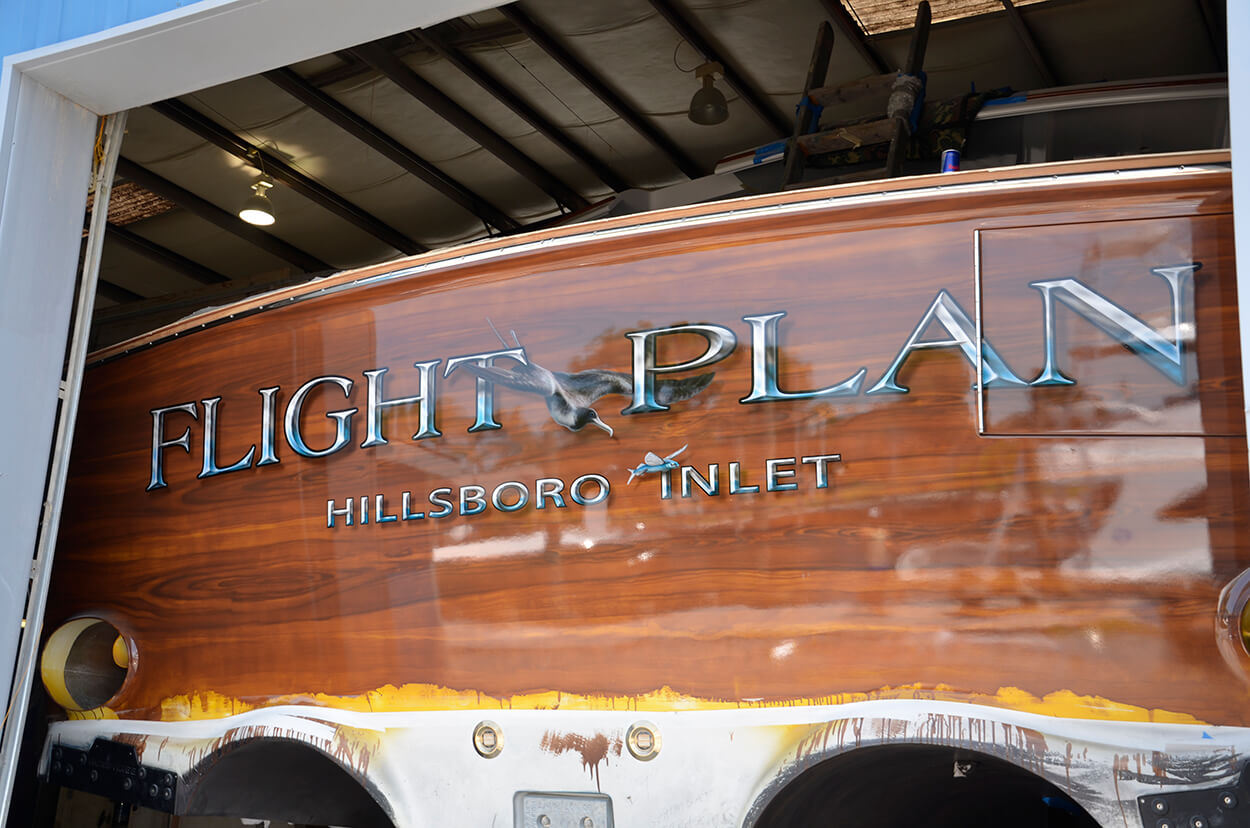 Flight Plan Hillsboro Inlet Florida Boat Transom
