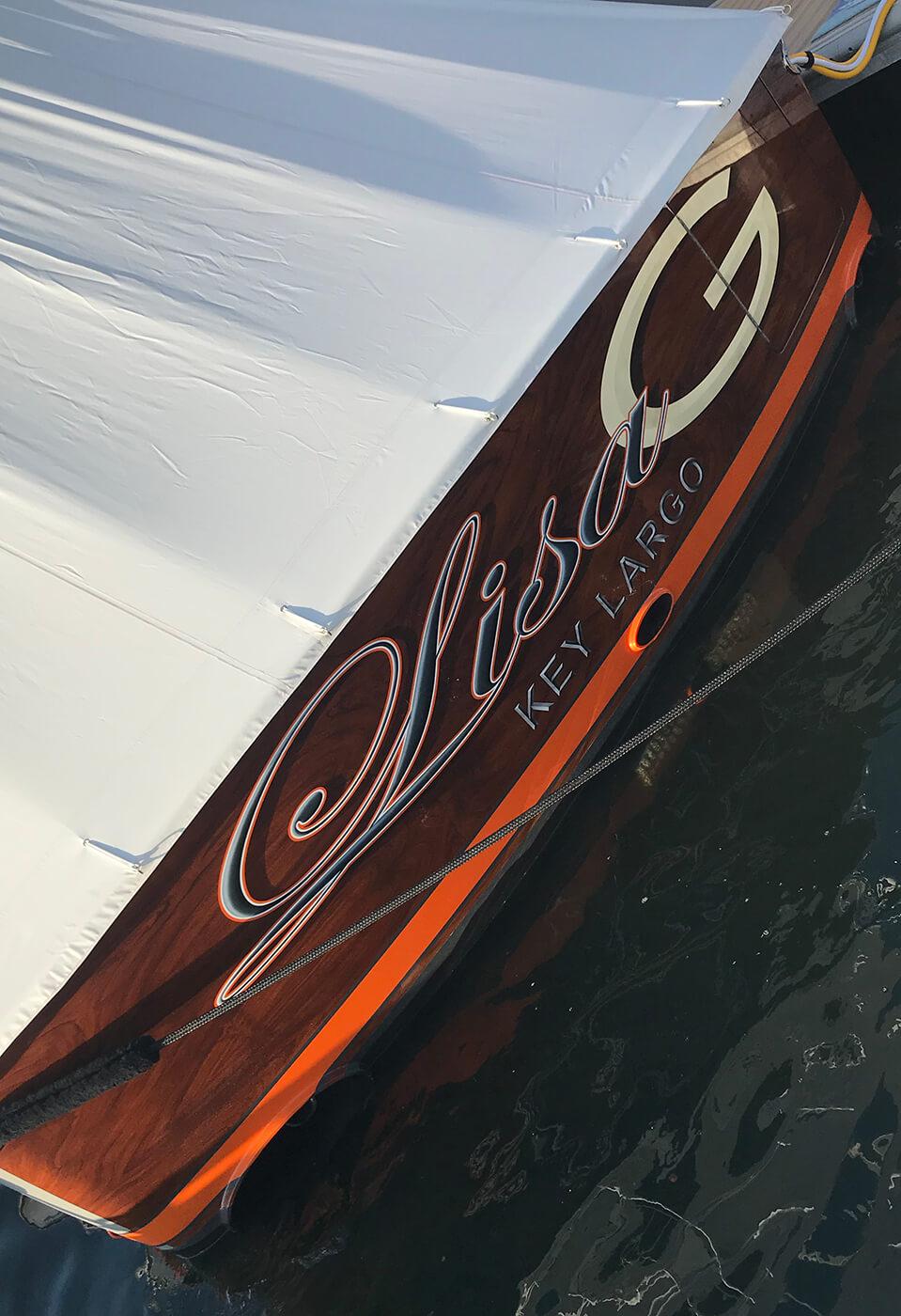 Lisa G Key Largo Boat Transom
