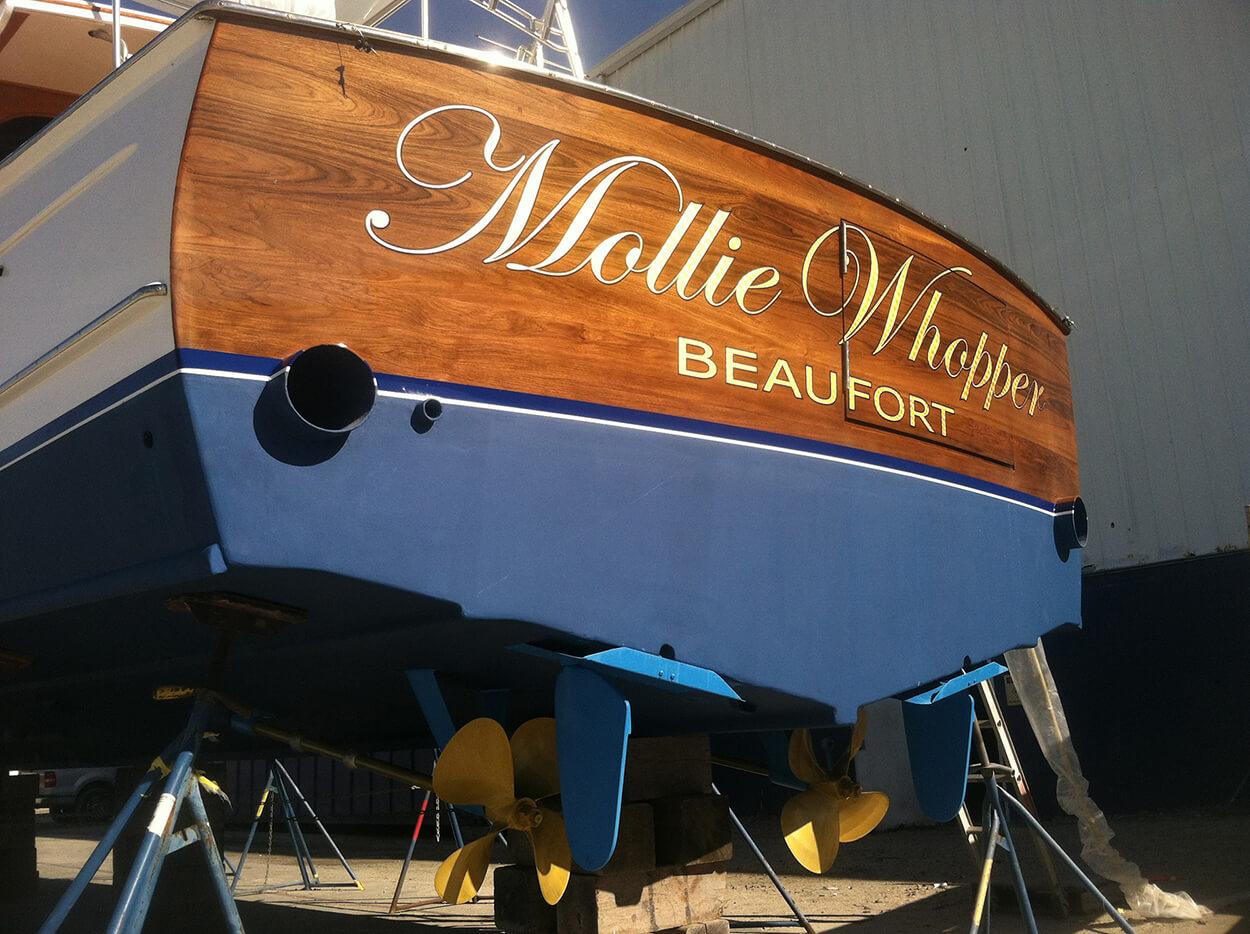 Mollie Whopper Beaufort North Carolina Boat Transom