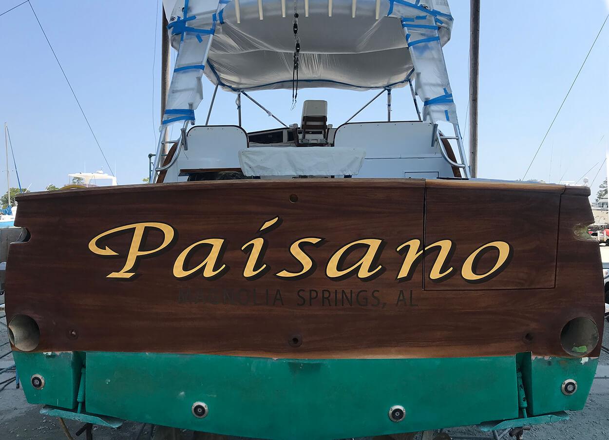 Paisano Magnolia Springs Alabama Boat Transom