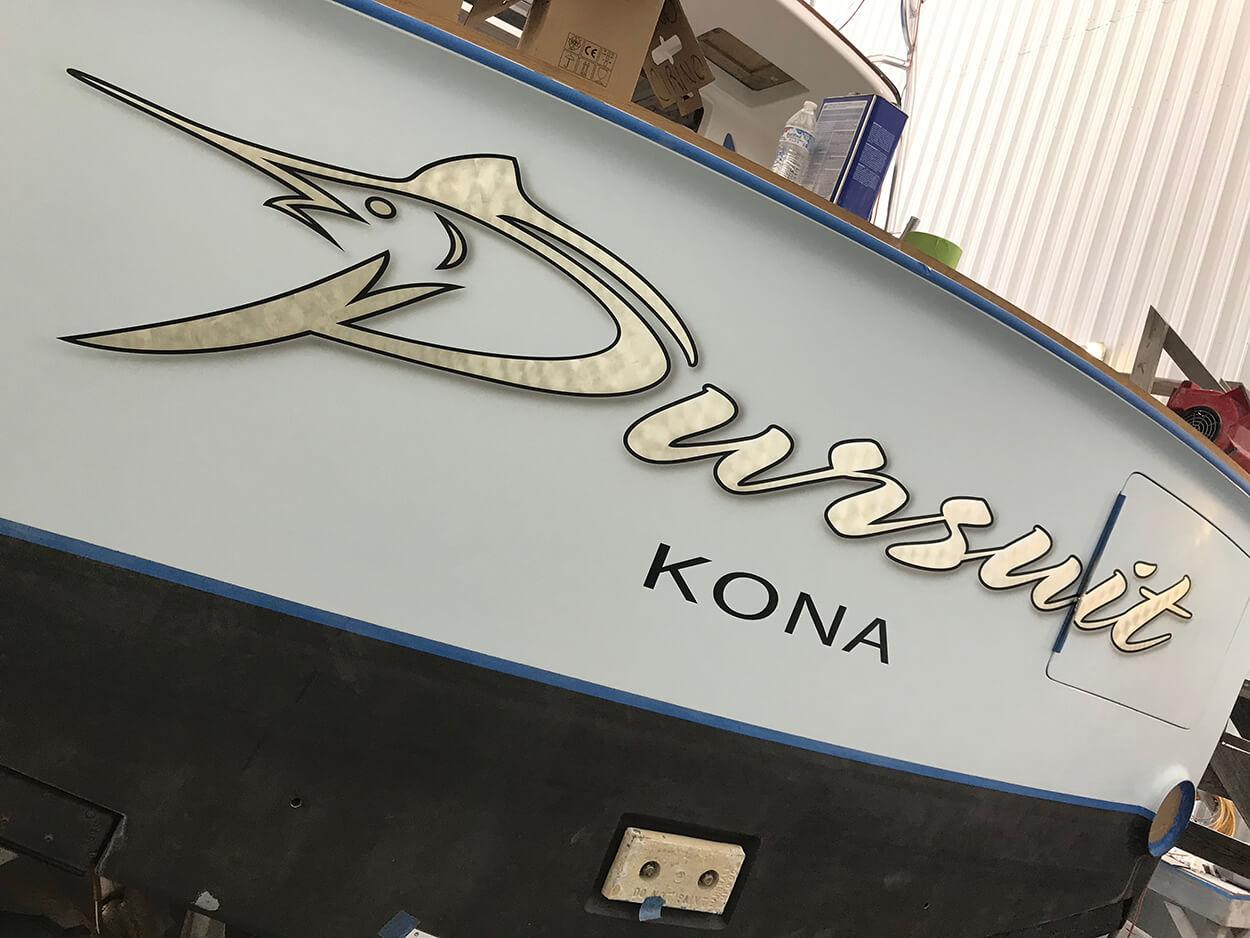 Pursuit Kona Hawaii Boat Transom