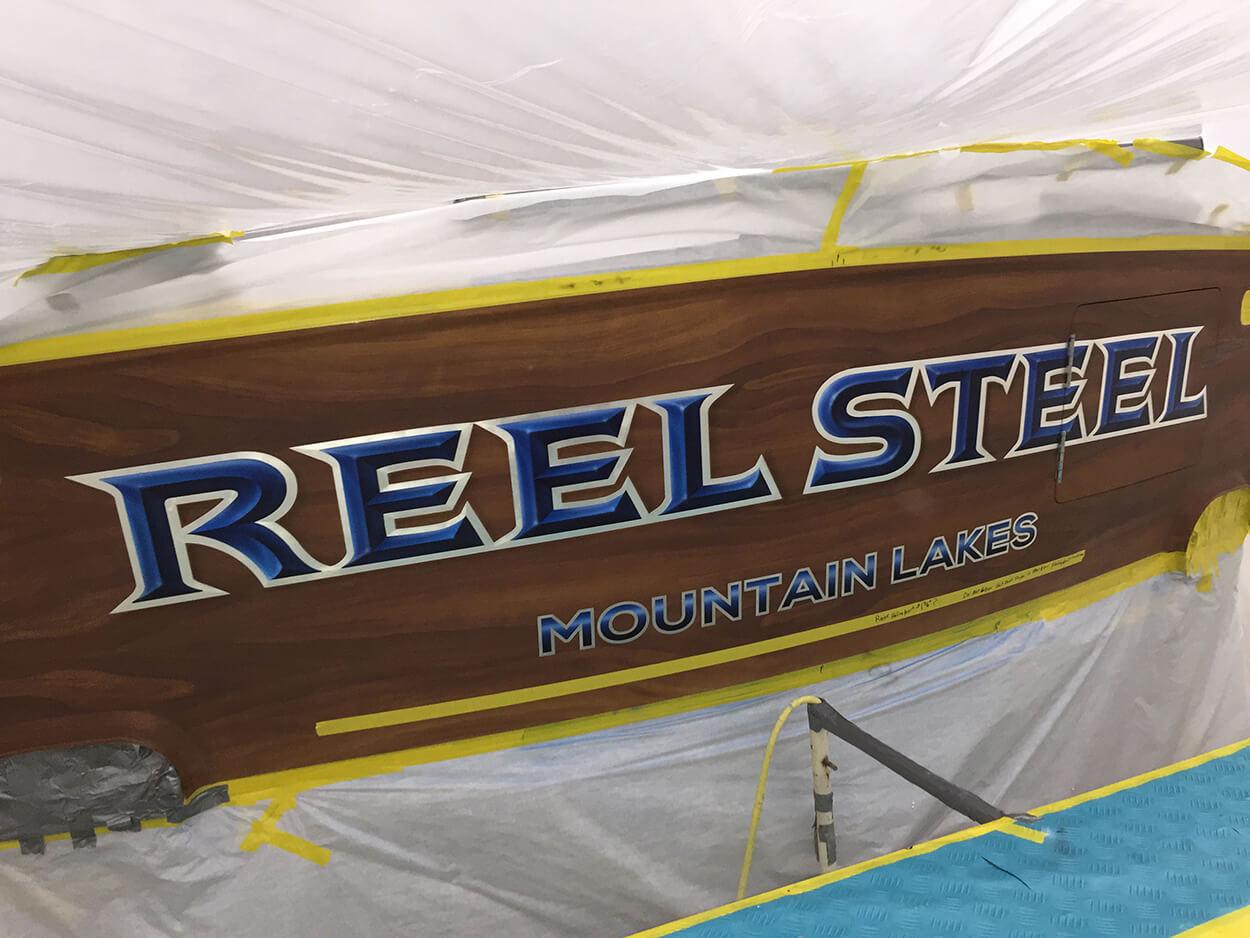 Reel Steel Mountain Lakes Boat Transom