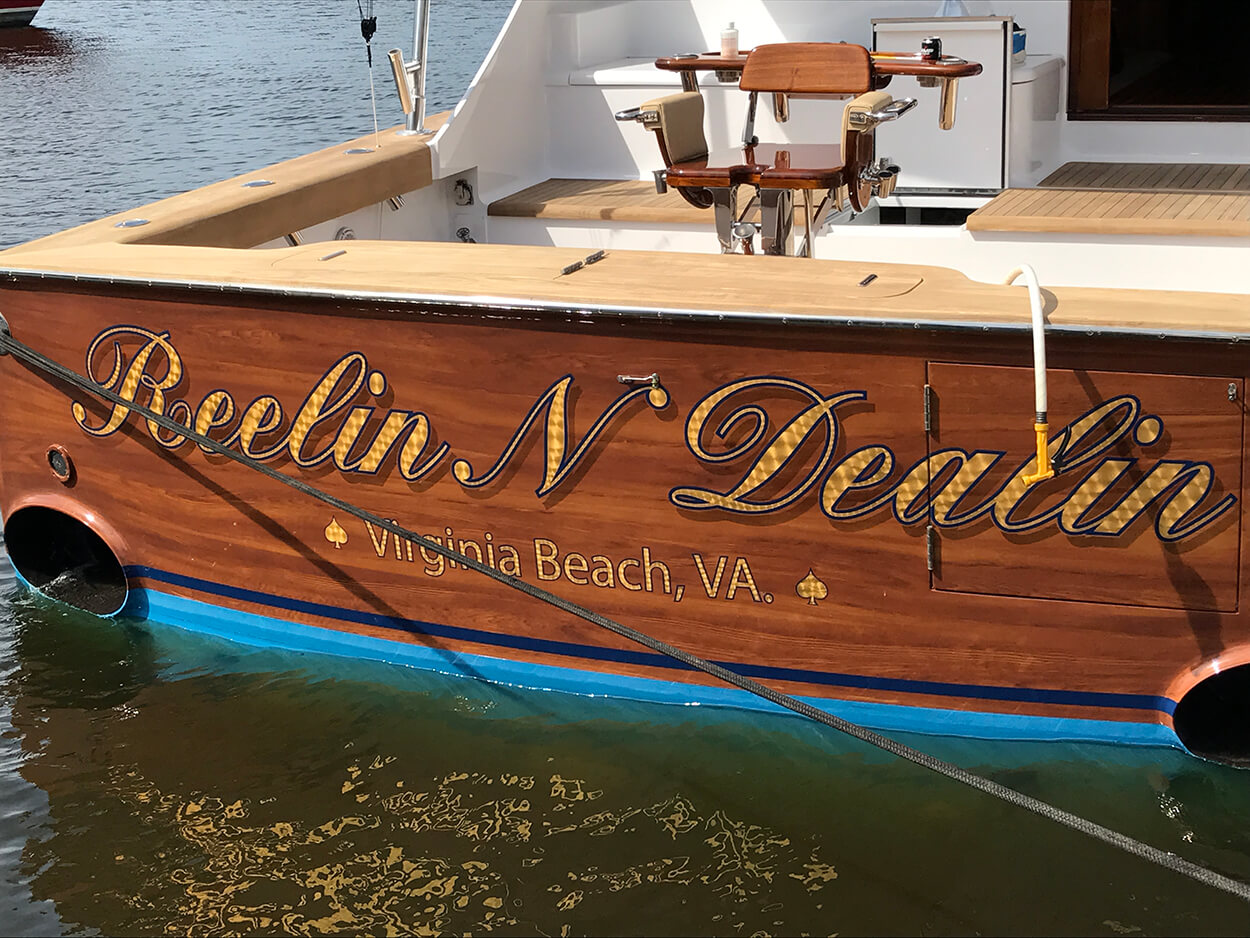 Reelin N Dealin Virginia Beach Boat Transom
