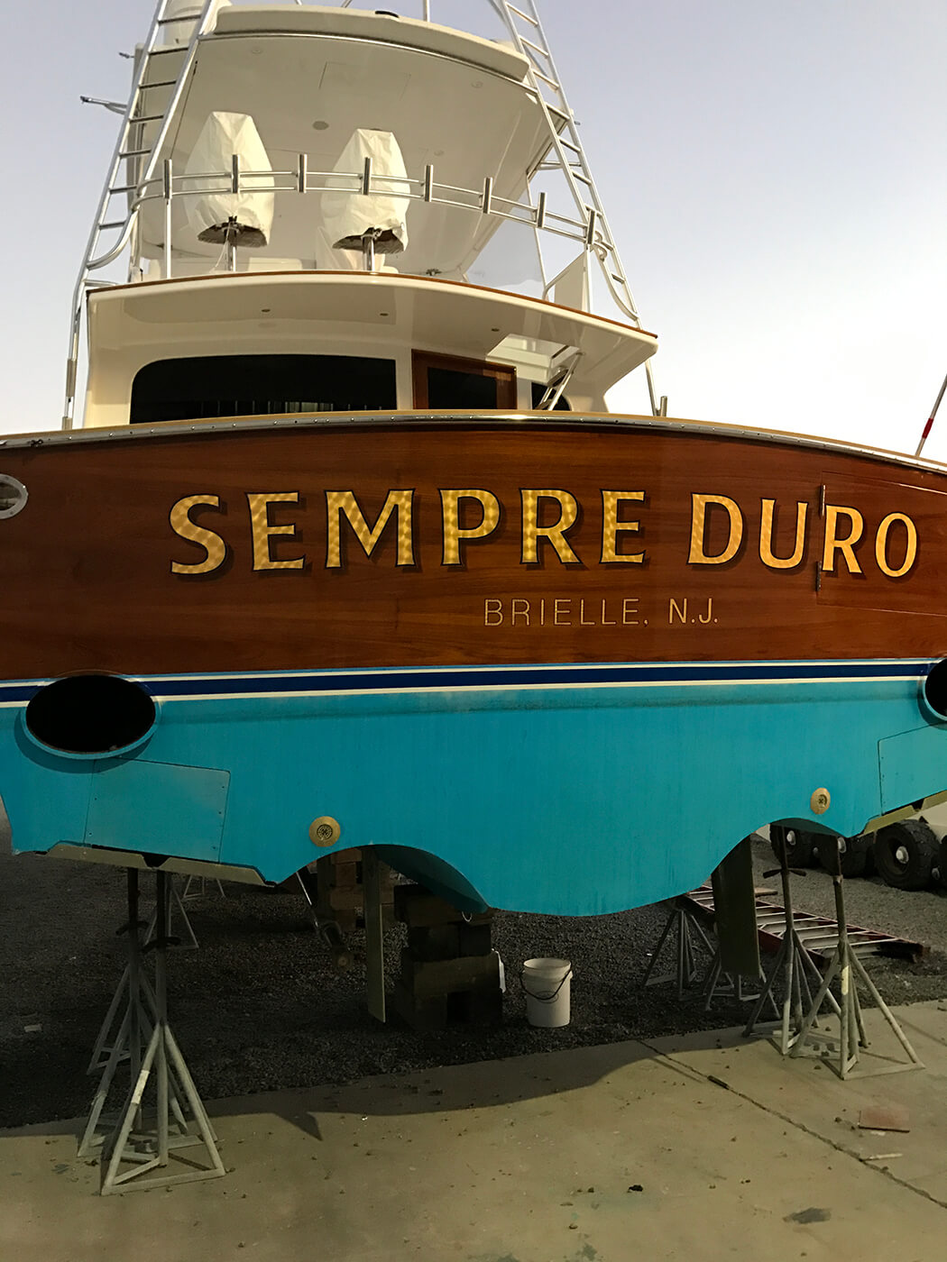 Sempre Duro Brielle New Jersey Boat Transom