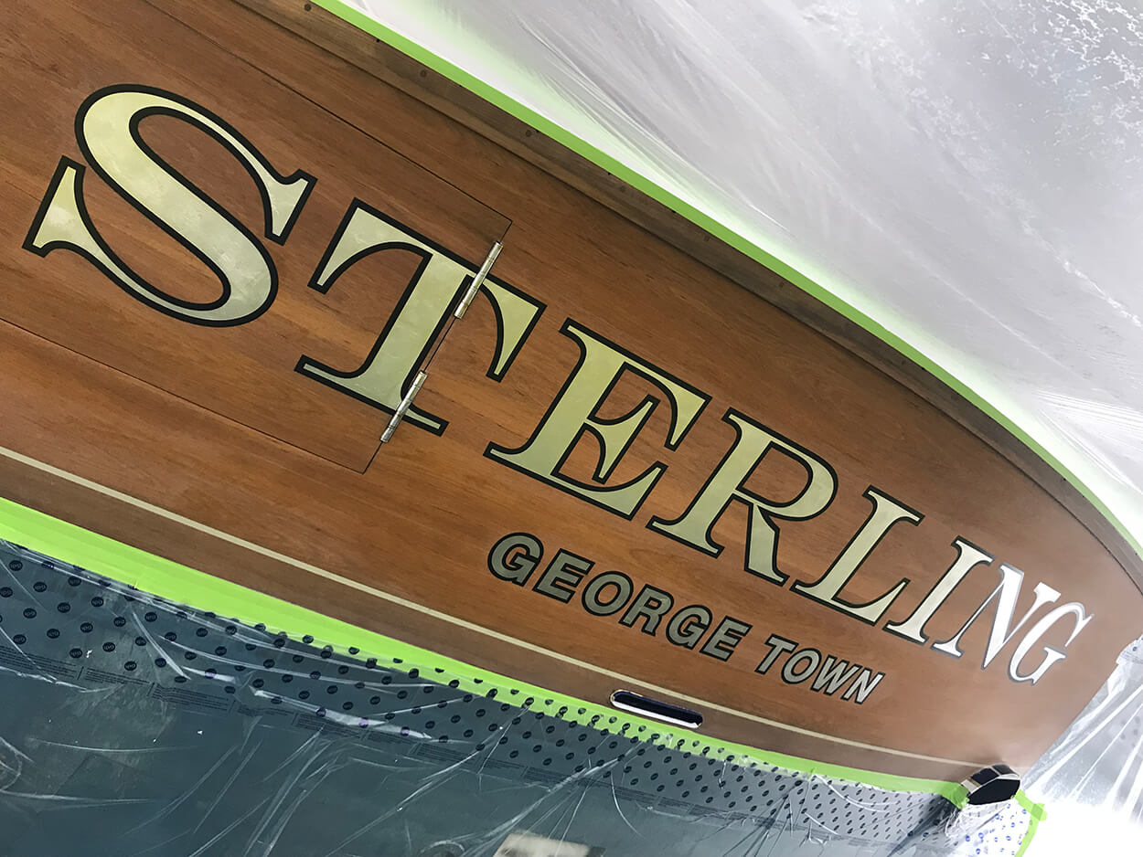 Sterling George Town Boat Transom