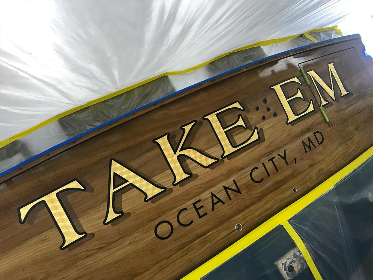 Take Em Ocean City Maryland Boat Transom