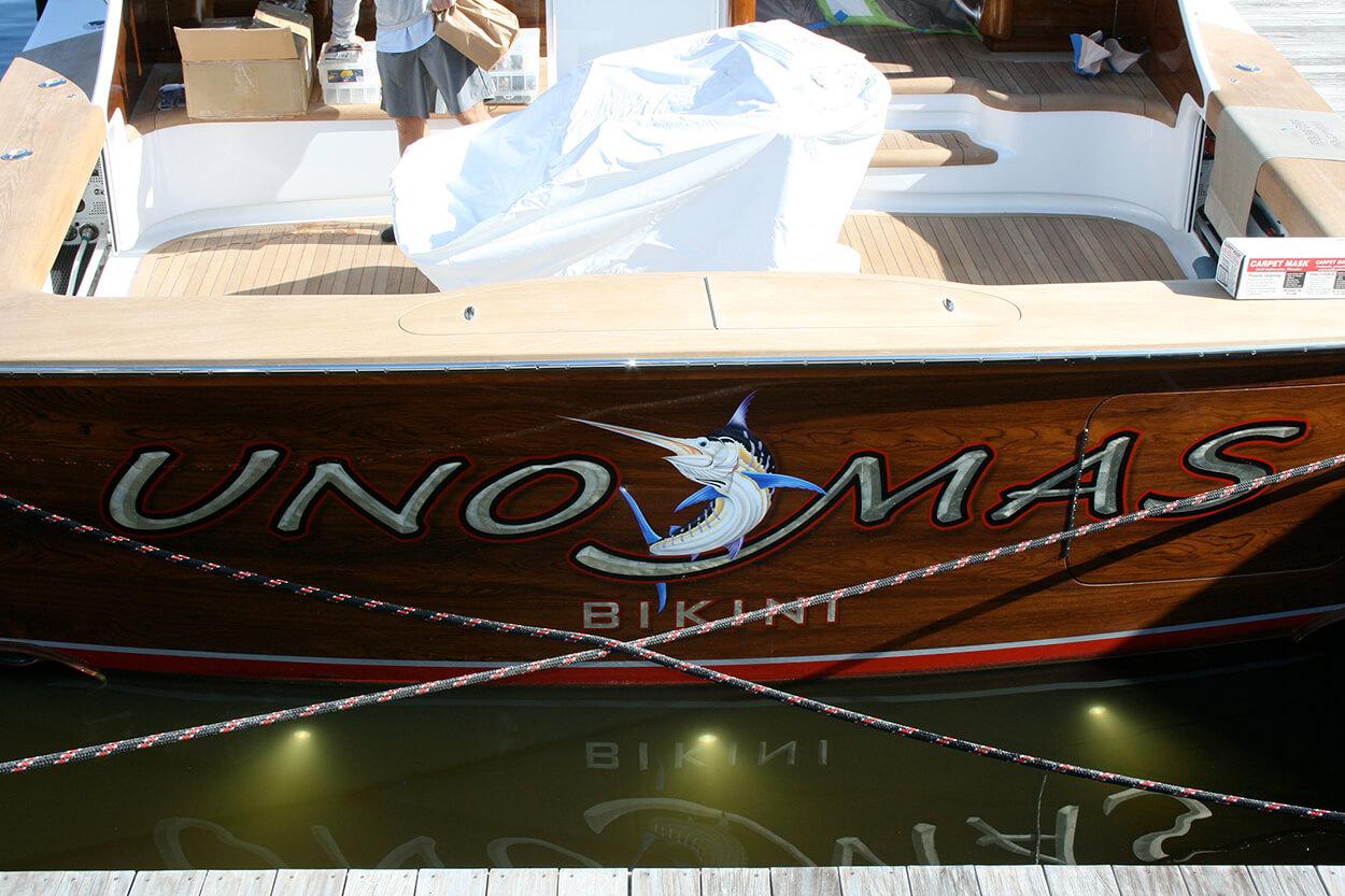Uno Mas Bikini Boat Transom