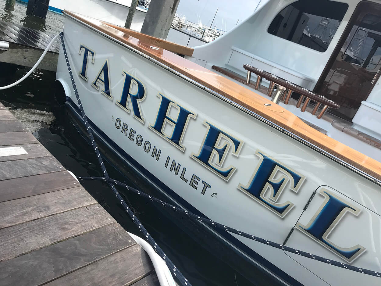 Tarheel Oregon Inlet NC Boat Transom
