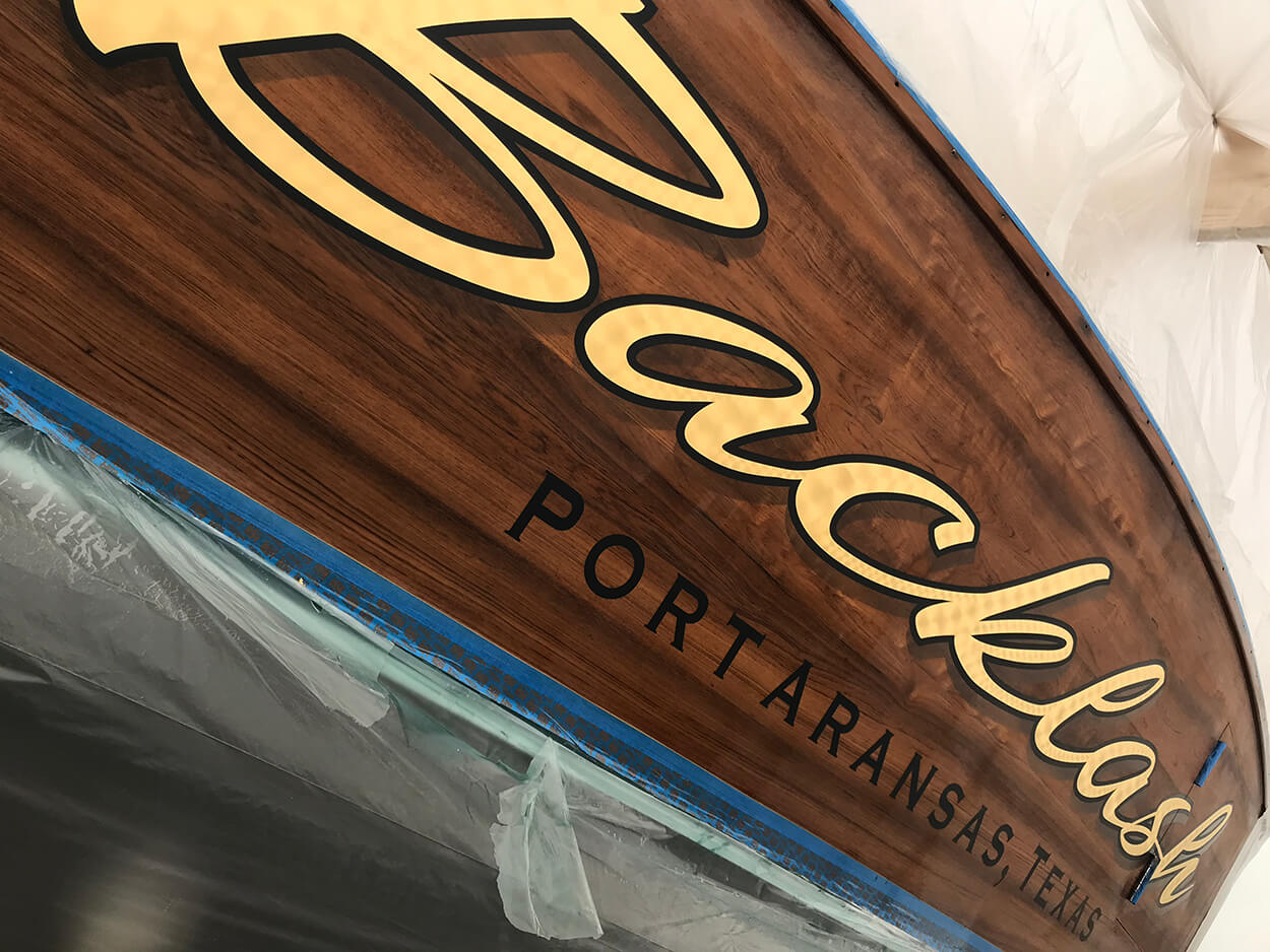 Backlash Port Aransas Texas Boat Transom script name painted outlines