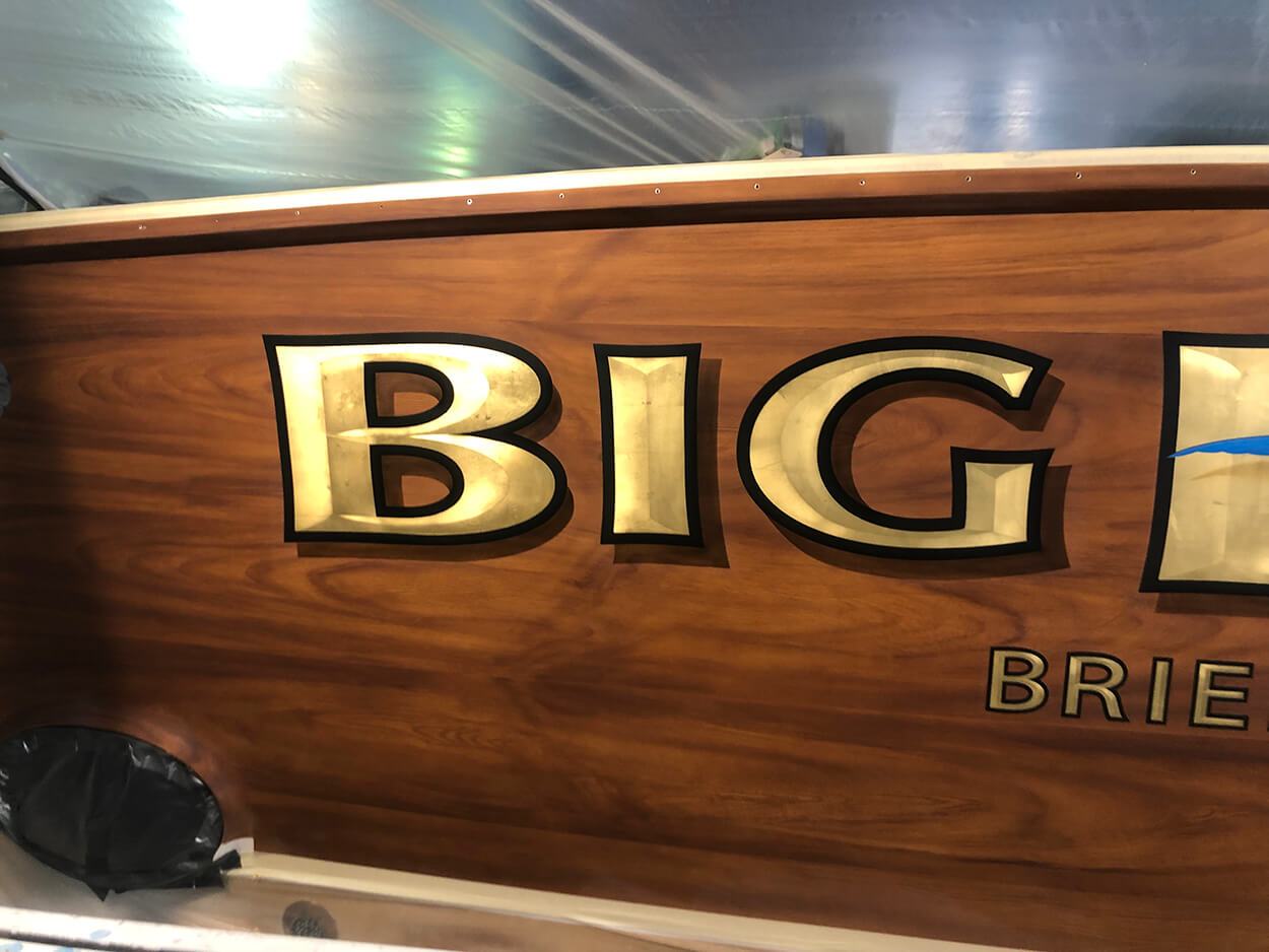 Big Deal Brielle New Jersey Boat Transom bevel style gold leaf