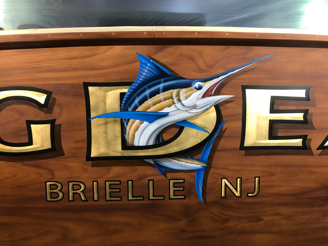 Big Deal Brielle New Jersey Boat Transom close up airbrushed graphic