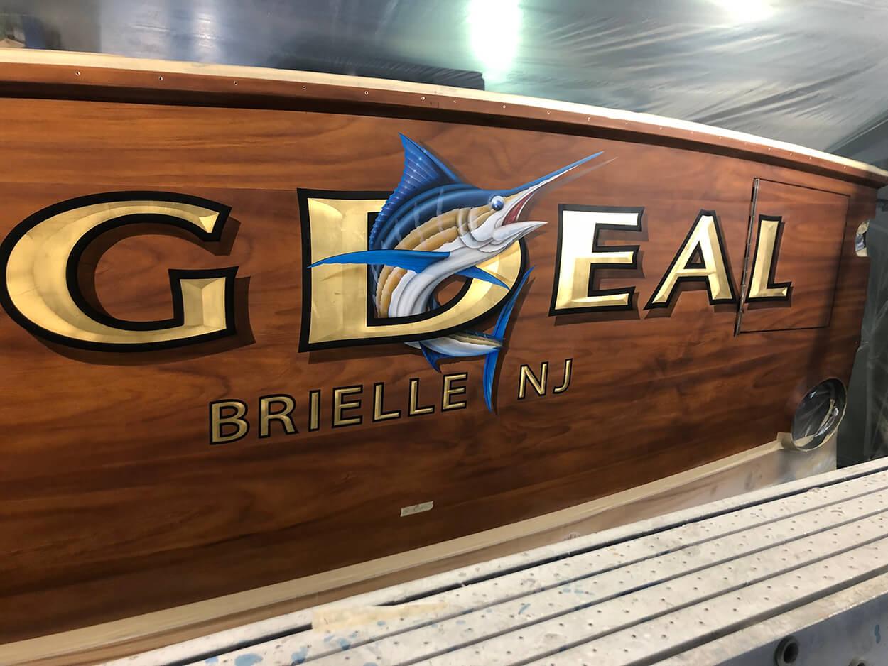 Big Deal Brielle New Jersey Boat Transom custom marlin graphic
