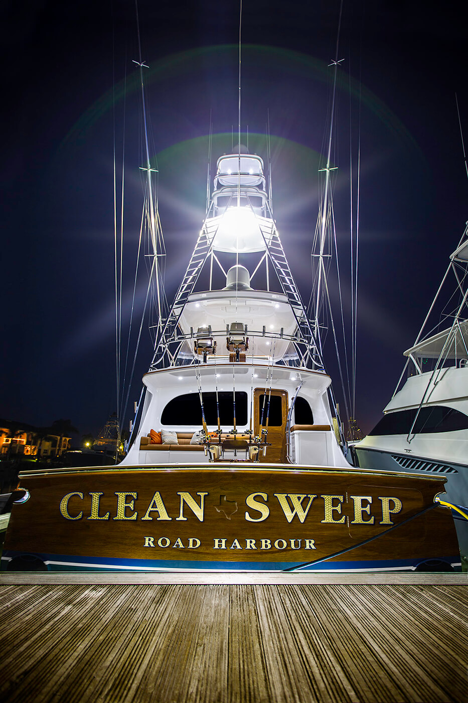 Clean Sweep Road Harbour BVI Boat Transom docked at night vessel name design lettering