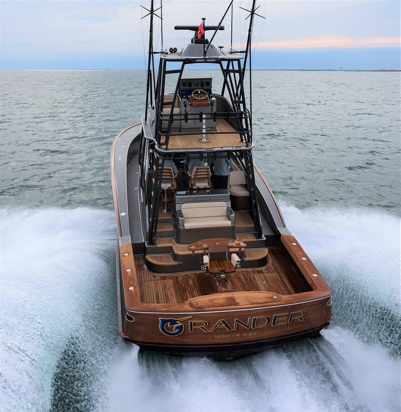 Grander White Bay Boat Transom running letter design name