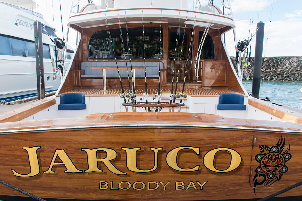 Jaruco Bloody Bay Boat Transom bevel style letter fill