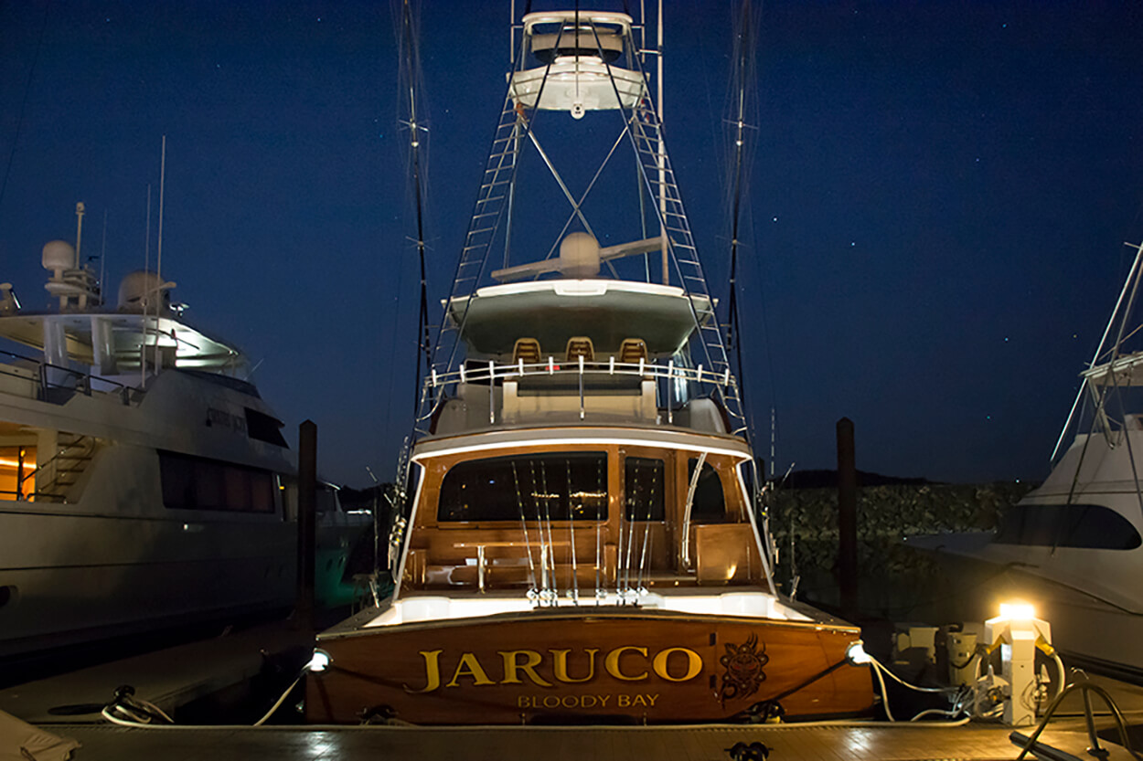 Jaruco Bloody Bay Boat Transom docked night name design