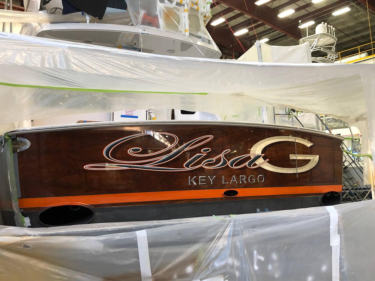 Lisa G Key Largo Boat Transom viking yachts name design