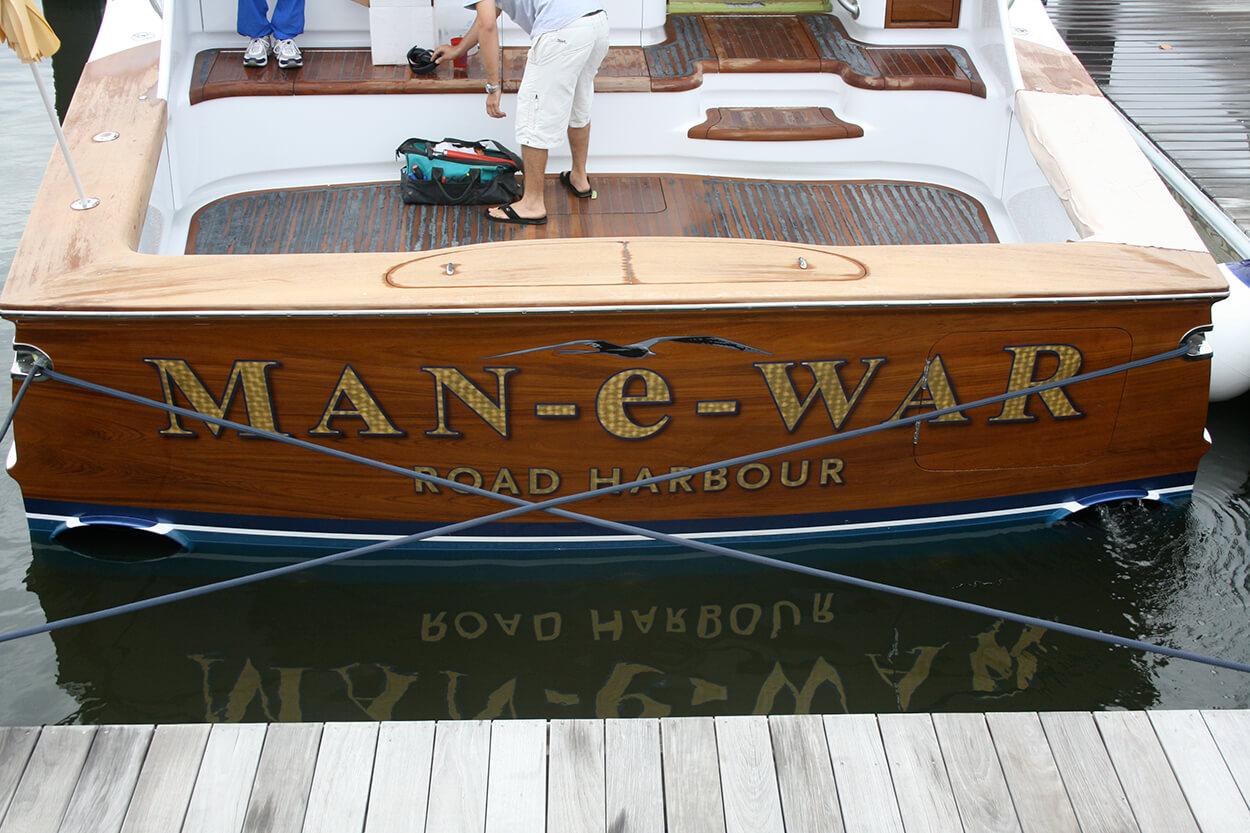 Man e War Road Harbour BVI Boat Transom 24k yellow gold leaf name design