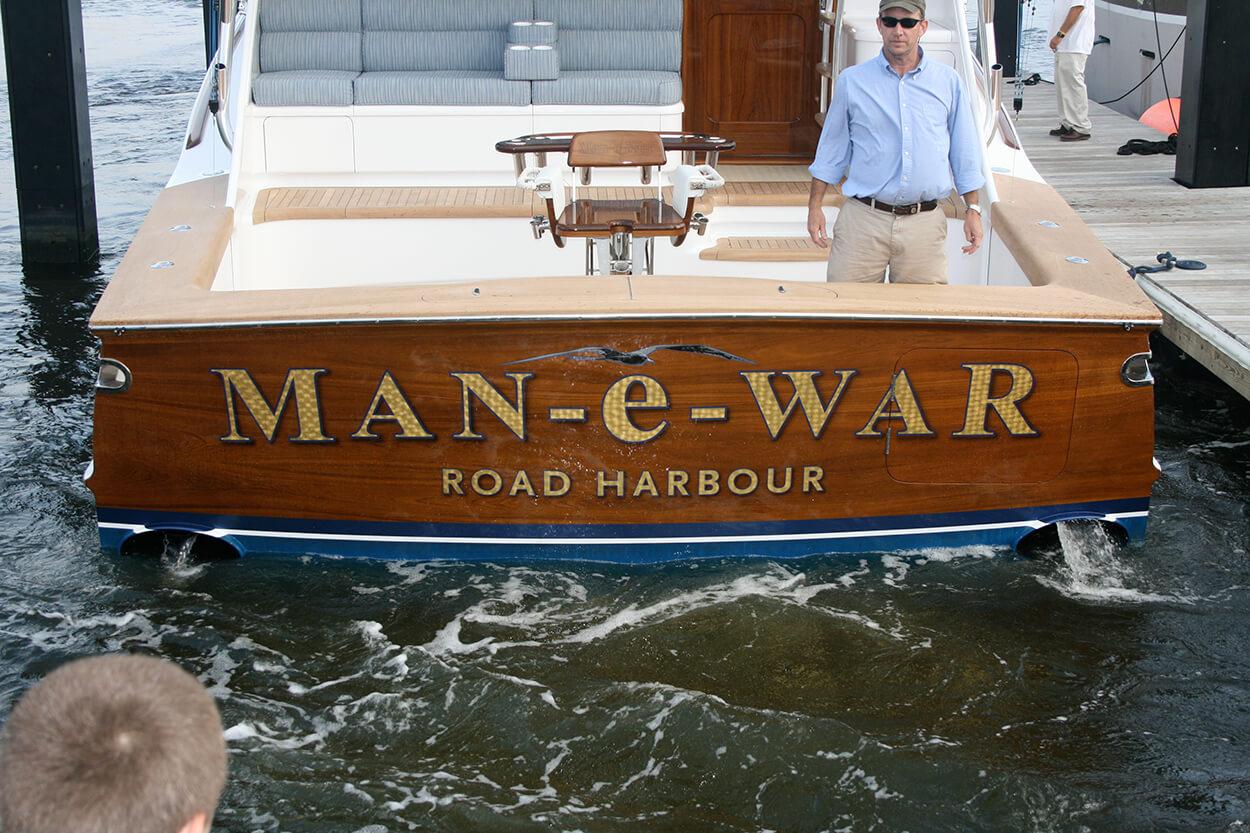 Man e War Road Harbour BVI Boat Transom classic sportfishing vessel