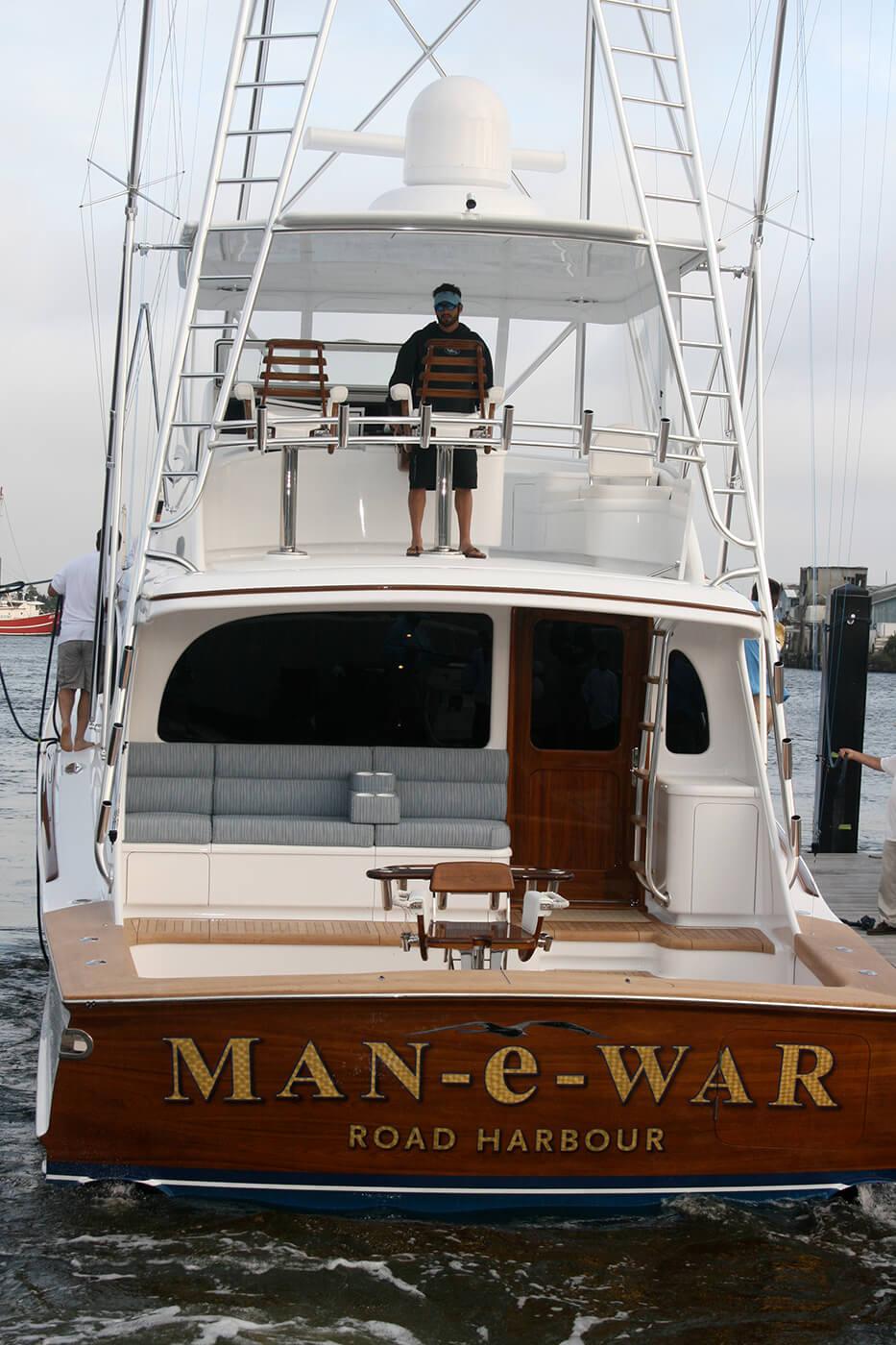 Man e War Road Harbour BVI Boat Transom flying bridge sportfishing yacht marine name letter design
