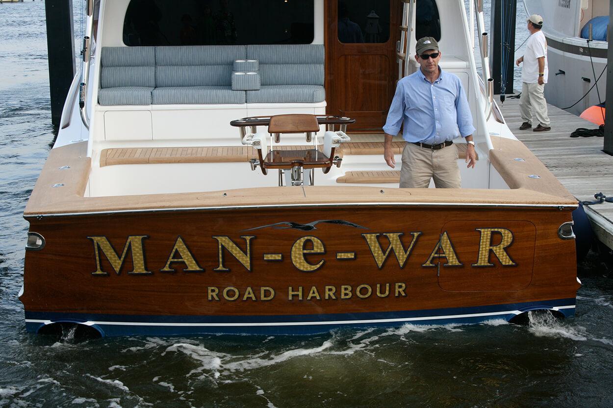 Man e War Road Harbour BVI Boat Transom lettering detail goldleaf name