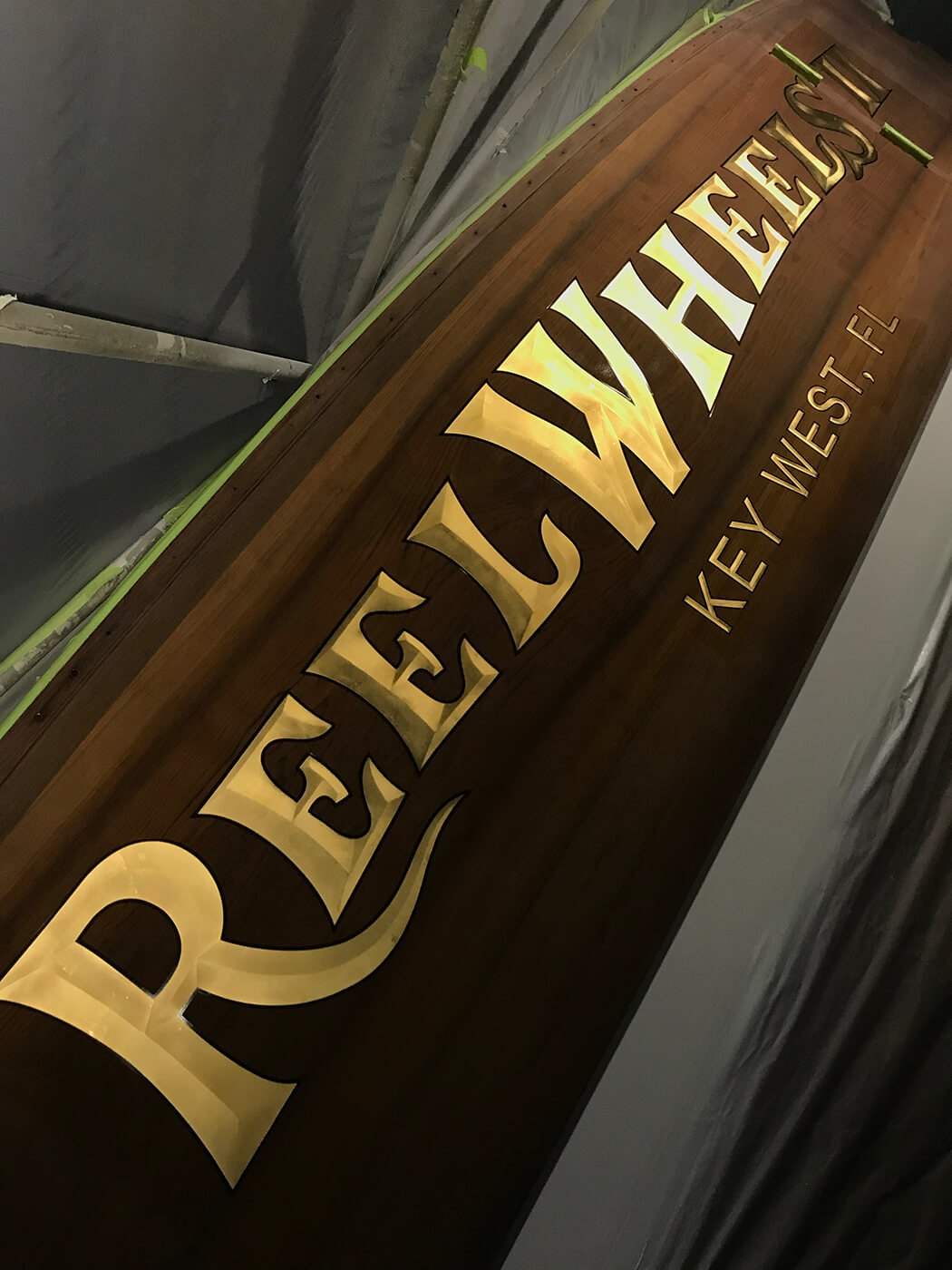 Reel Wheels II Boat Transom gold leaf bevel style