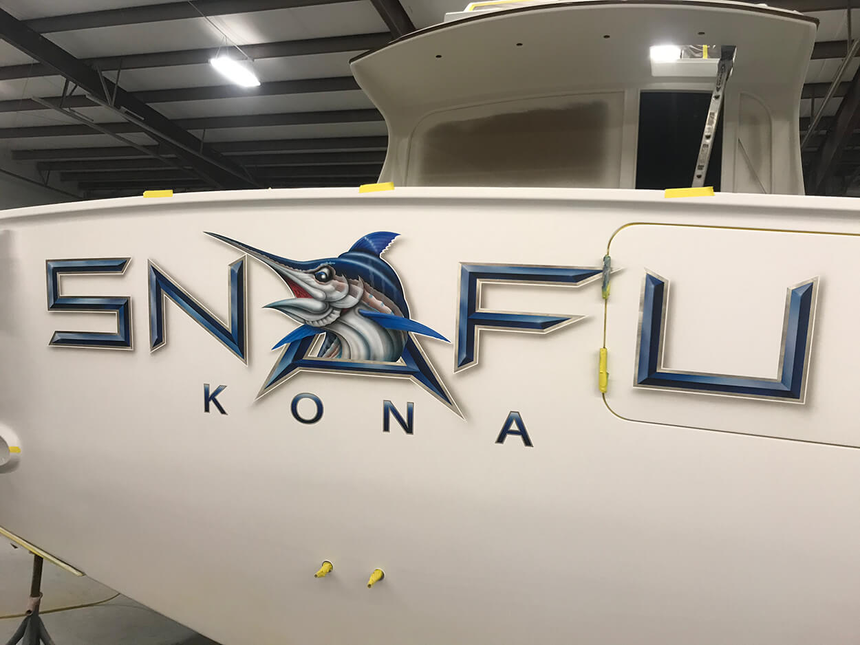 SNAFU KONA Boat Transom painted bevel style letters