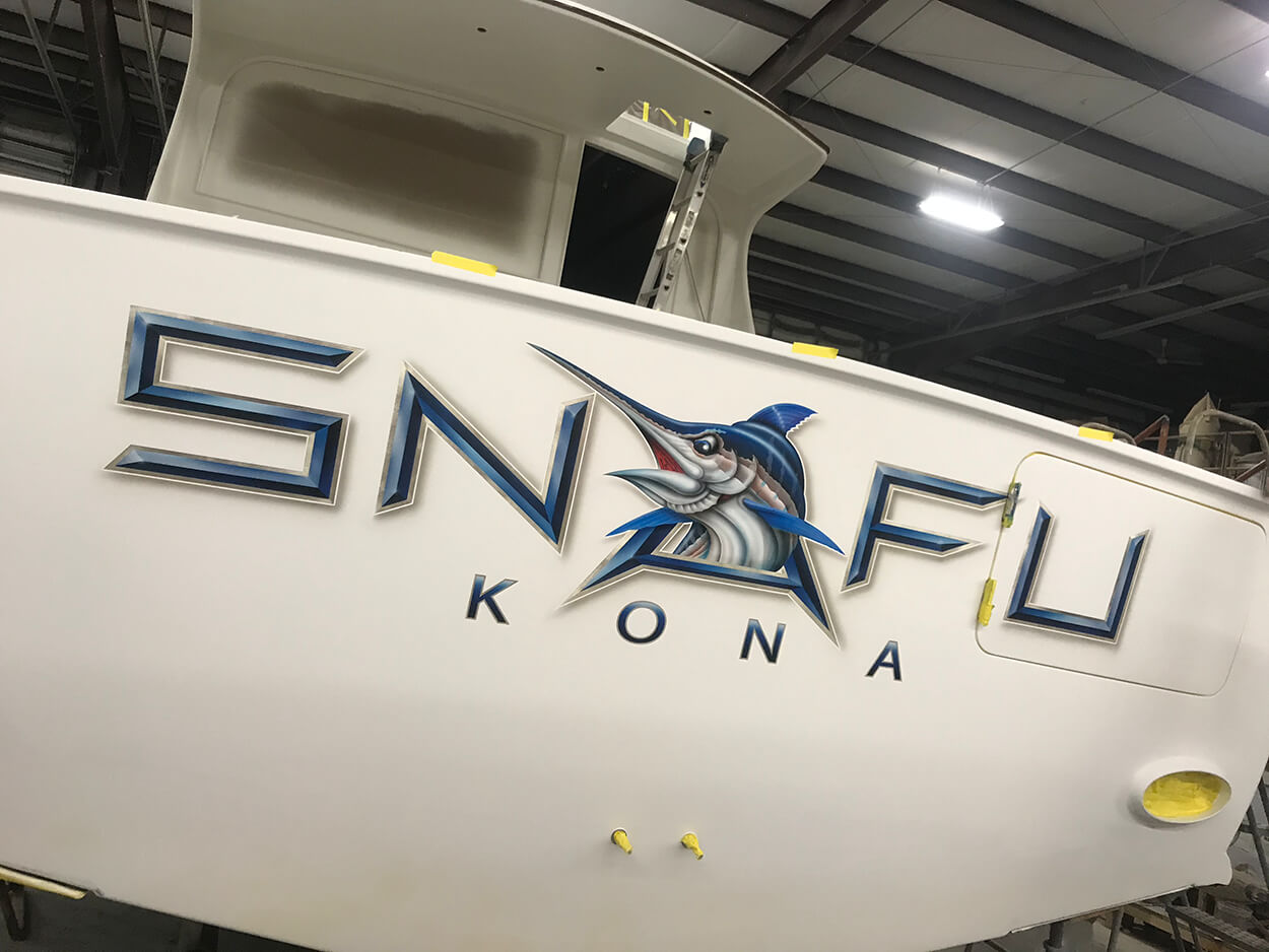 SNAFU KONA Boat Transom white gold outlines