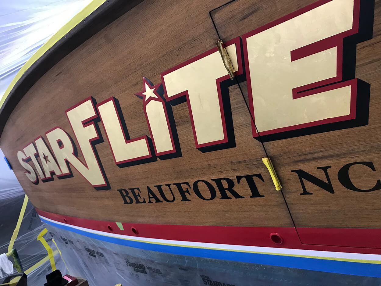 Starflite Beaufort North Carolina Boat Transom bevel style gold leaf detail