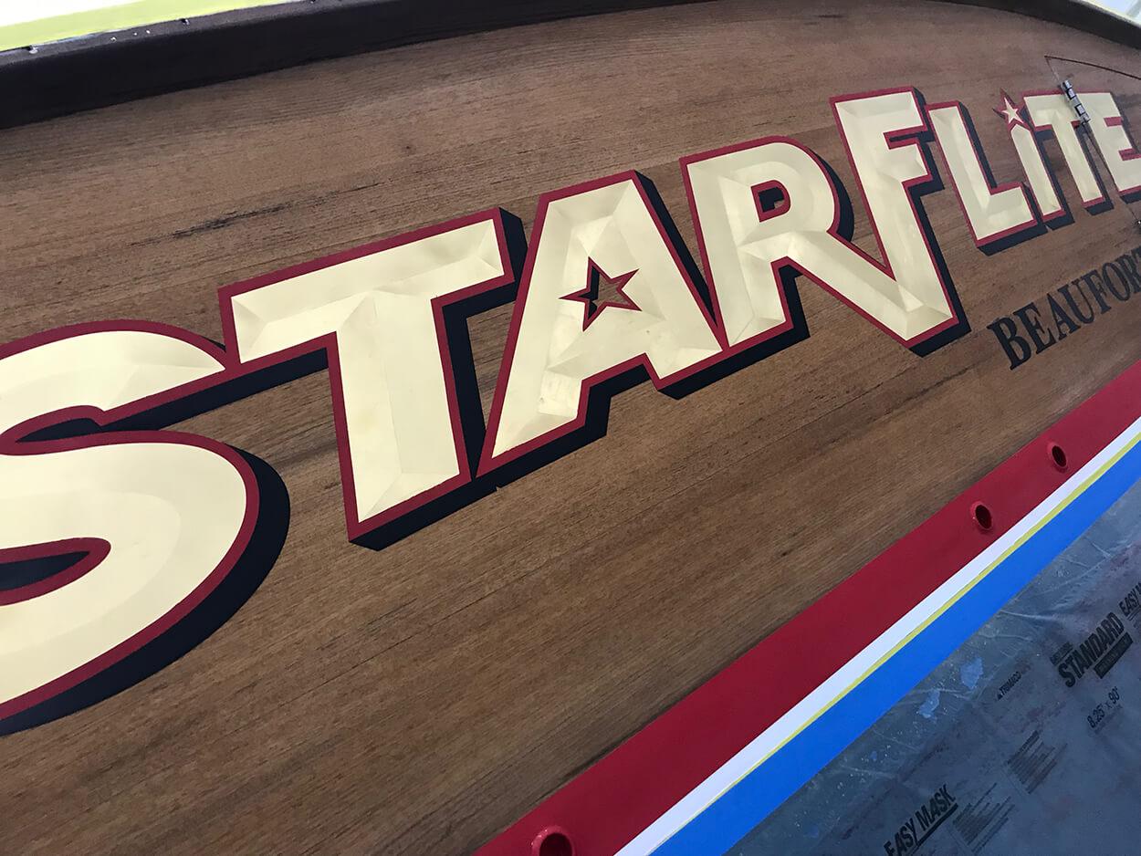 Starflite Beaufort North Carolina Boat Transom gold leaf bevel style