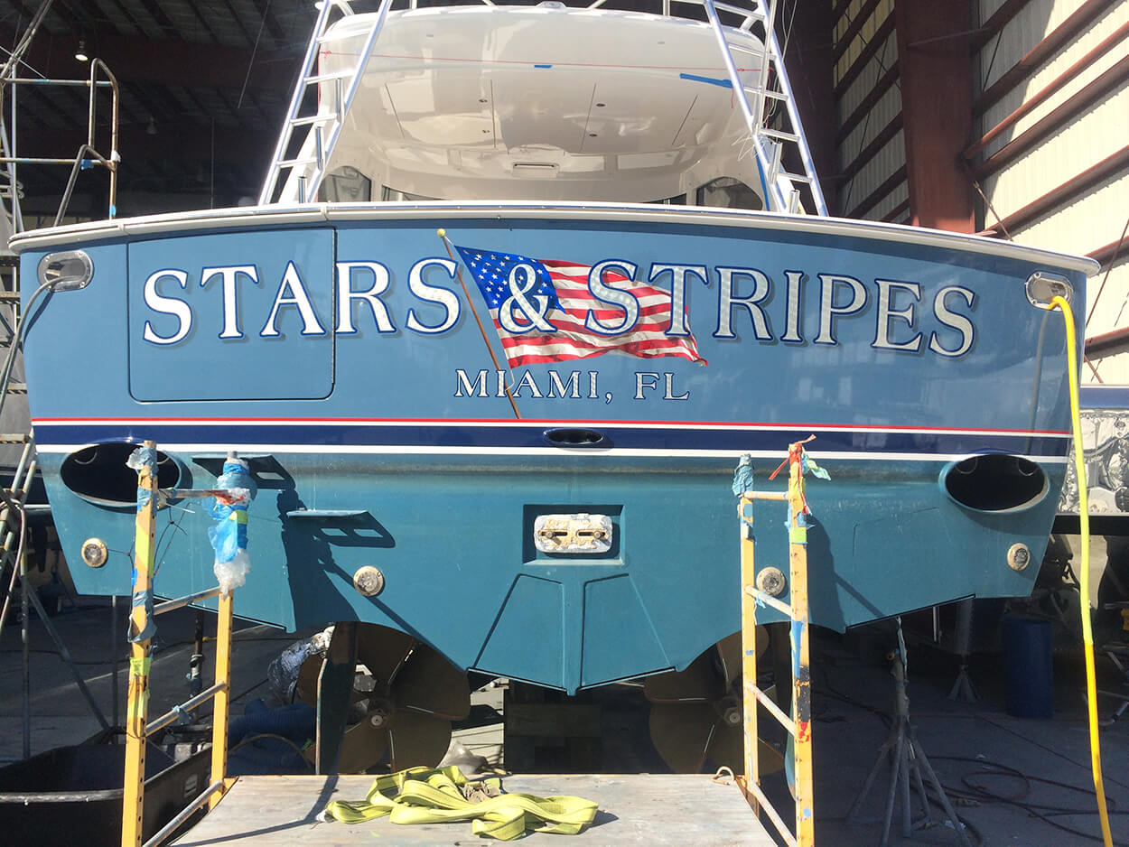 Stars and Stripes Miami Florida Boat Transom sign painting vessel yachts marine name design flag USA